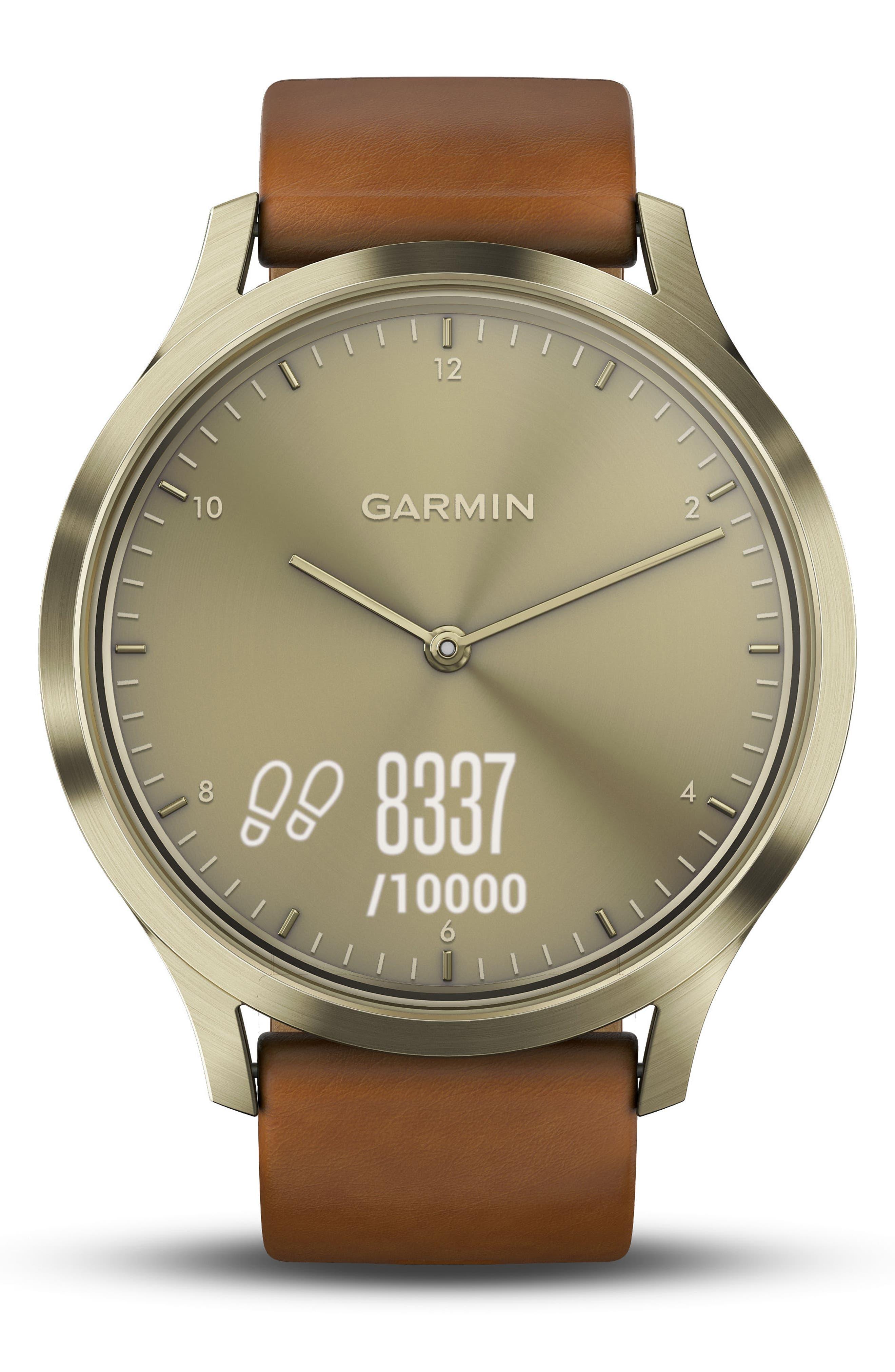 Vivomove HR Hybrid Smart Watch,                             Alternate thumbnail 4, color,                             Light Brown/ Gold/ Gold