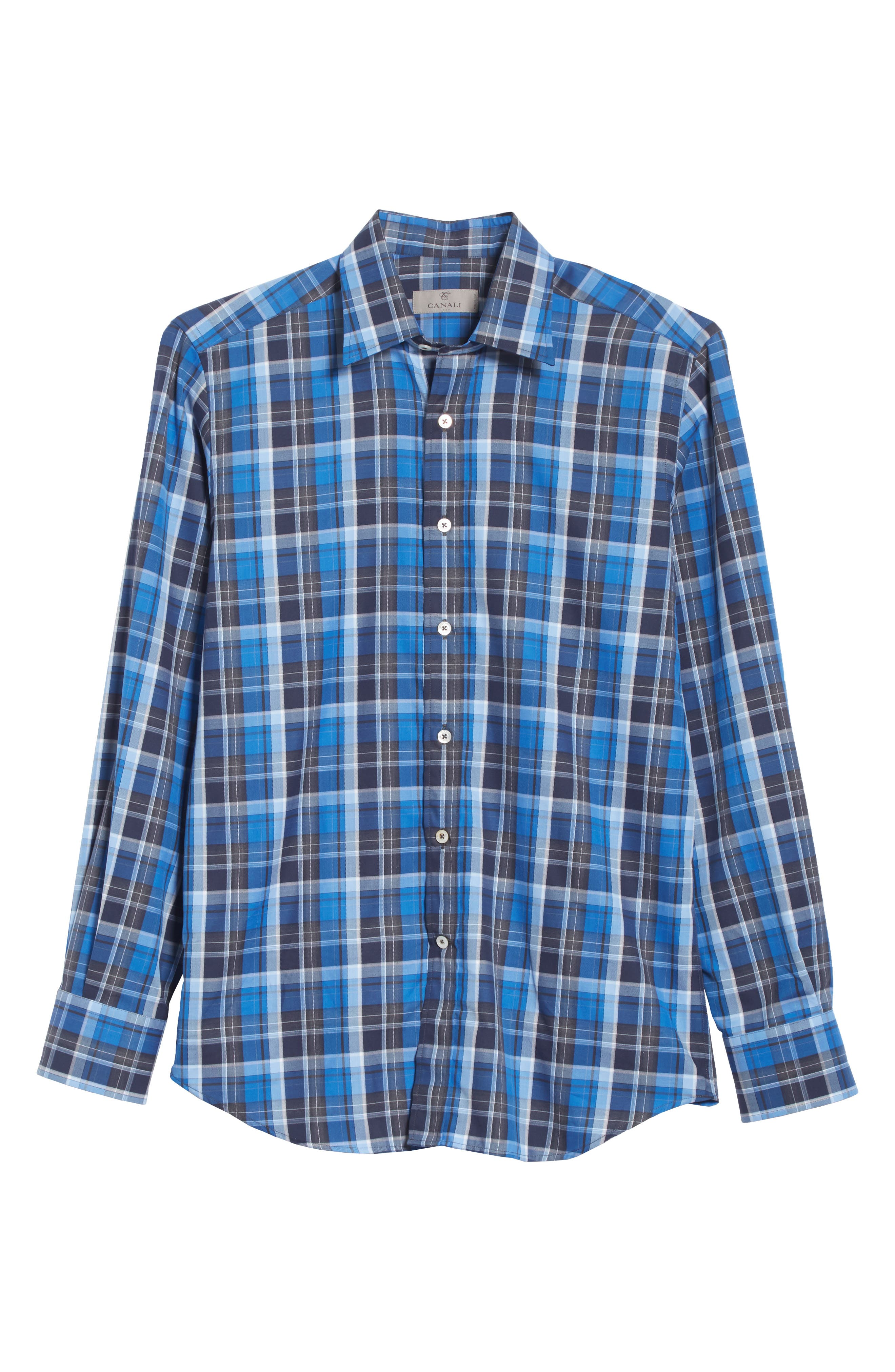 Regular Fit Plaid Sport Shirt,                             Alternate thumbnail 6, color,                             Blue