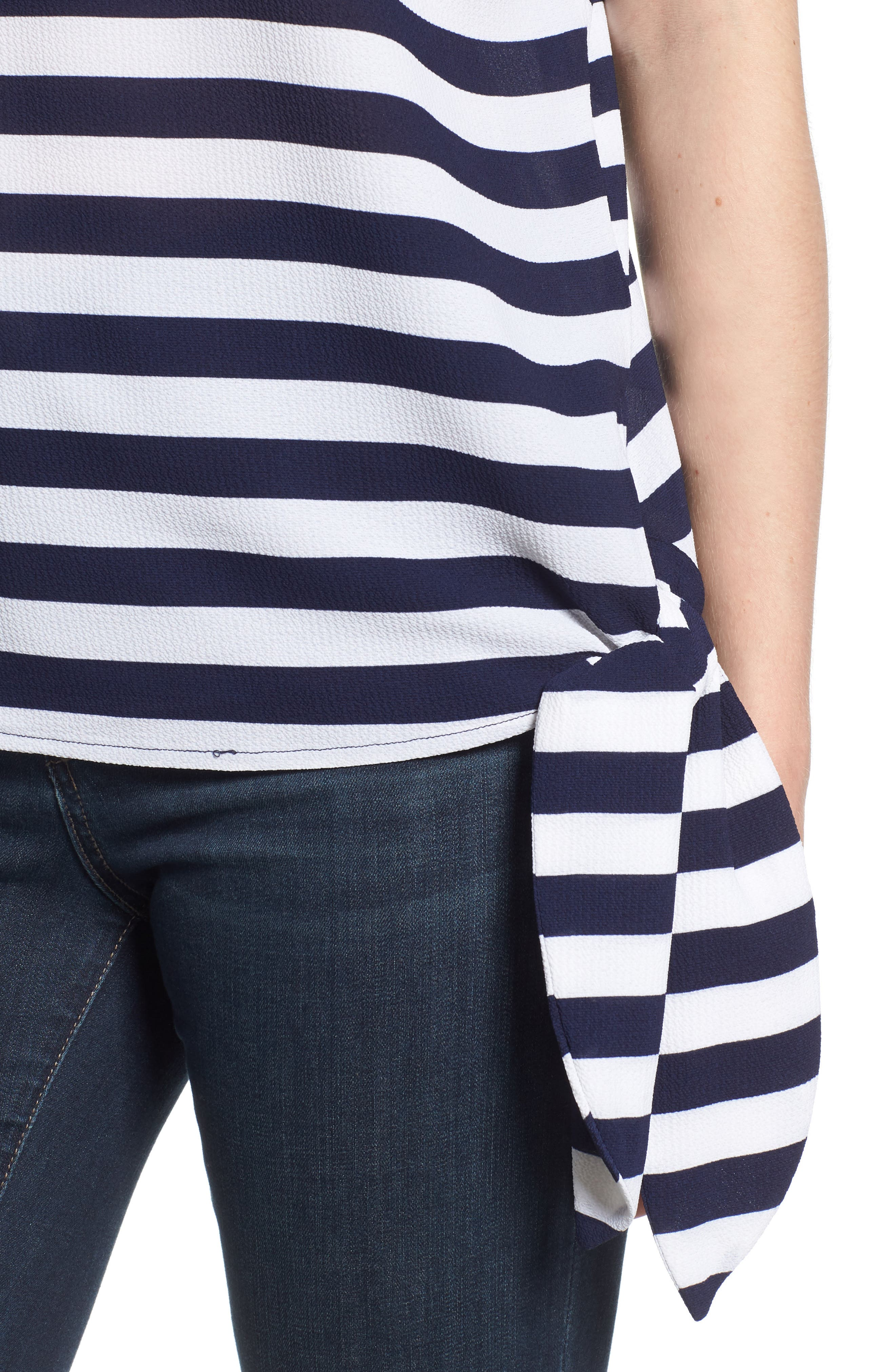 MICHAEL Michael Kors Side Tie Striped Top,                             Alternate thumbnail 4, color,                             True Navy