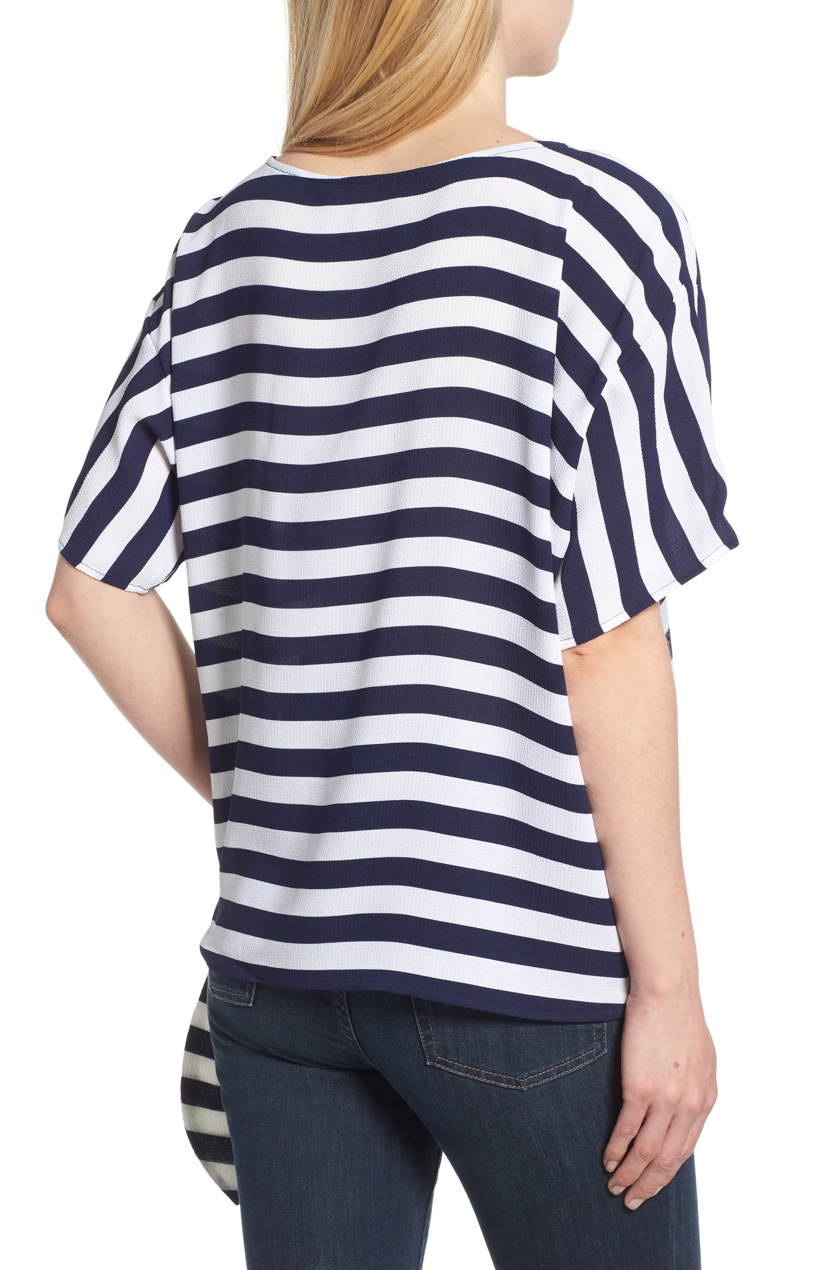 MICHAEL Michael Kors Side Tie Striped Top,                             Alternate thumbnail 2, color,                             True Navy