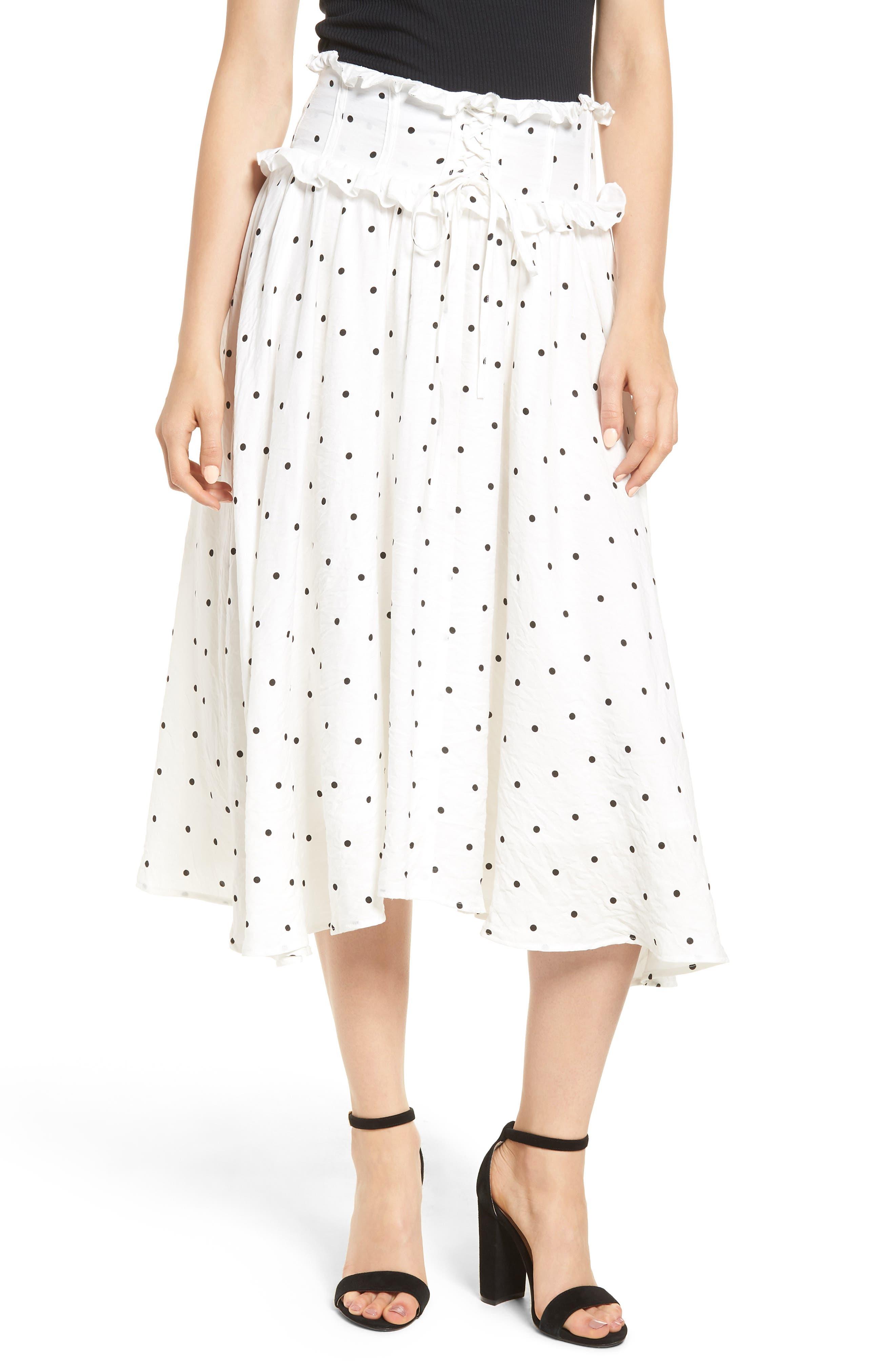 Lace-Up A-Line Skirt,                             Main thumbnail 1, color,                             Mono