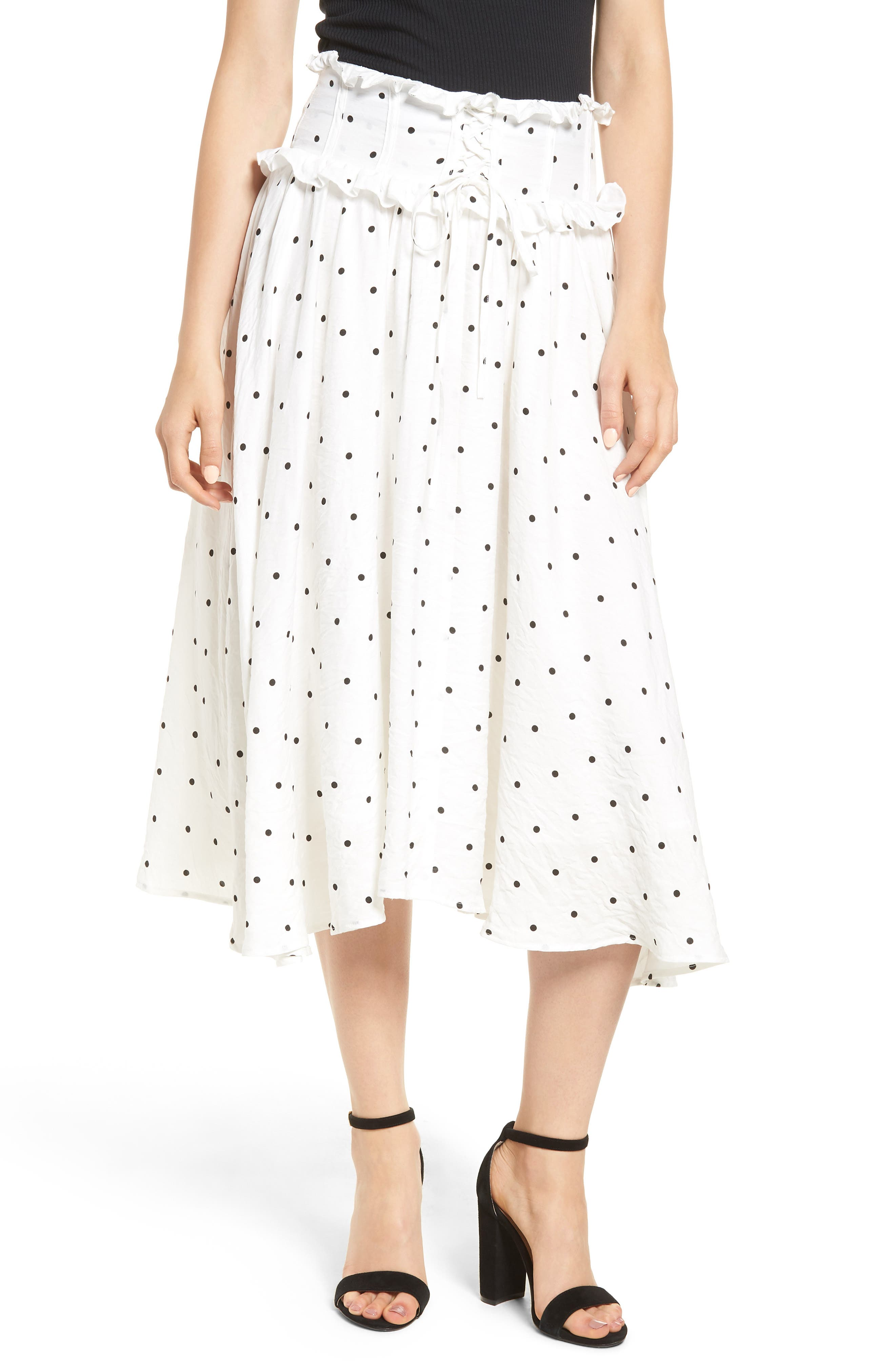Lace-Up A-Line Skirt,                         Main,                         color, Mono