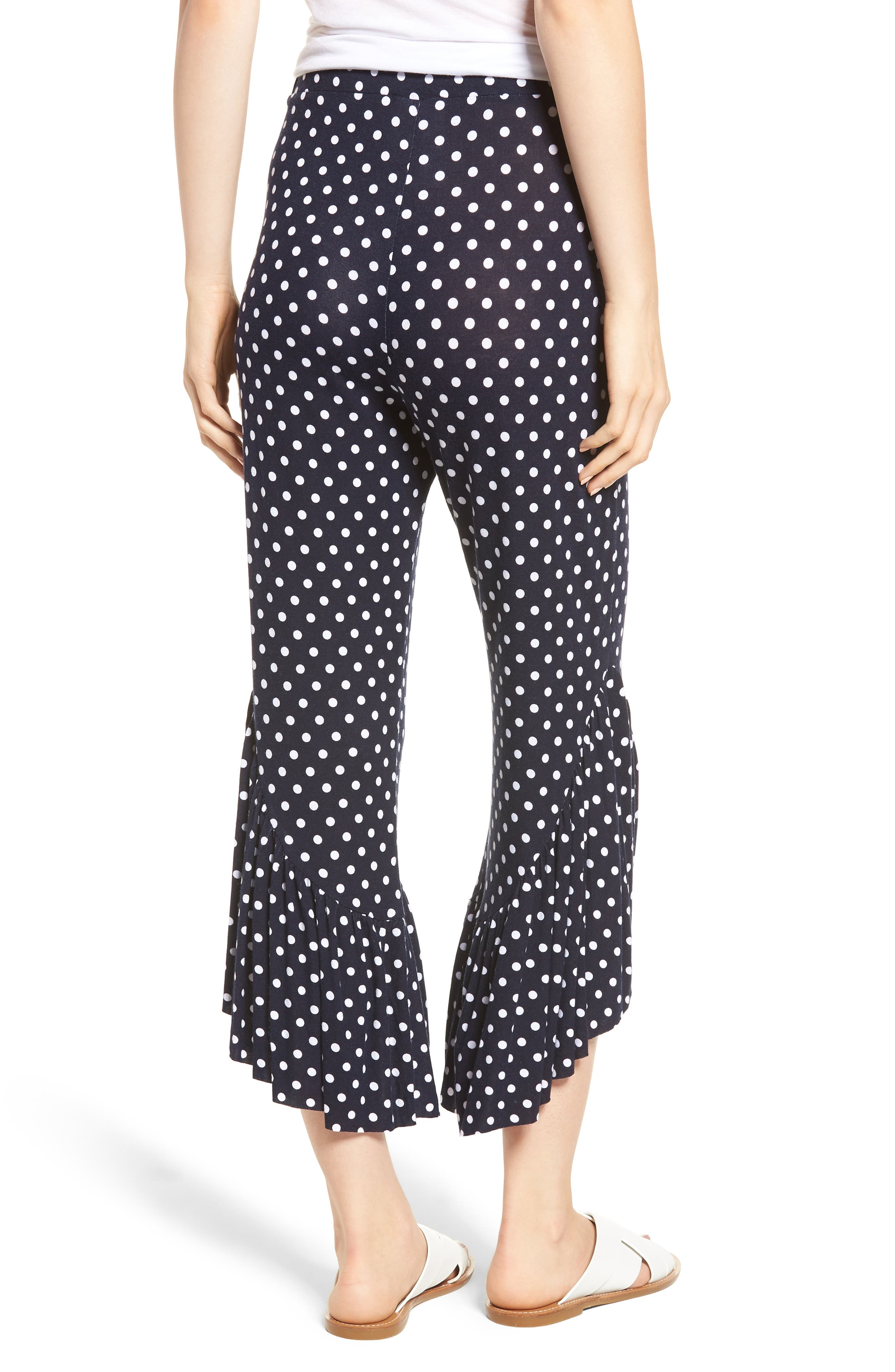 Ruffle Hem Wide Leg Crop Pants,                             Alternate thumbnail 2, color,                             Navy/ White Polka Dot
