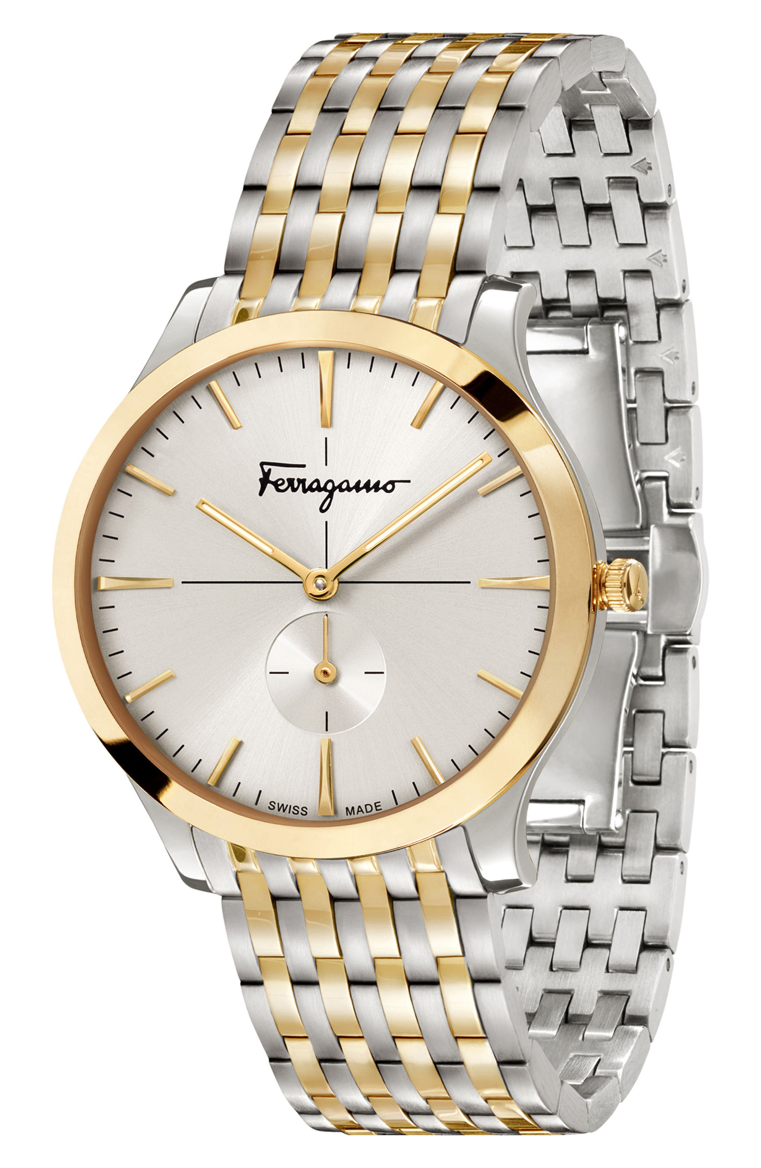 Slim Formal Bracelet Watch, 40mm,                             Alternate thumbnail 4, color,                             Silver/ Gold
