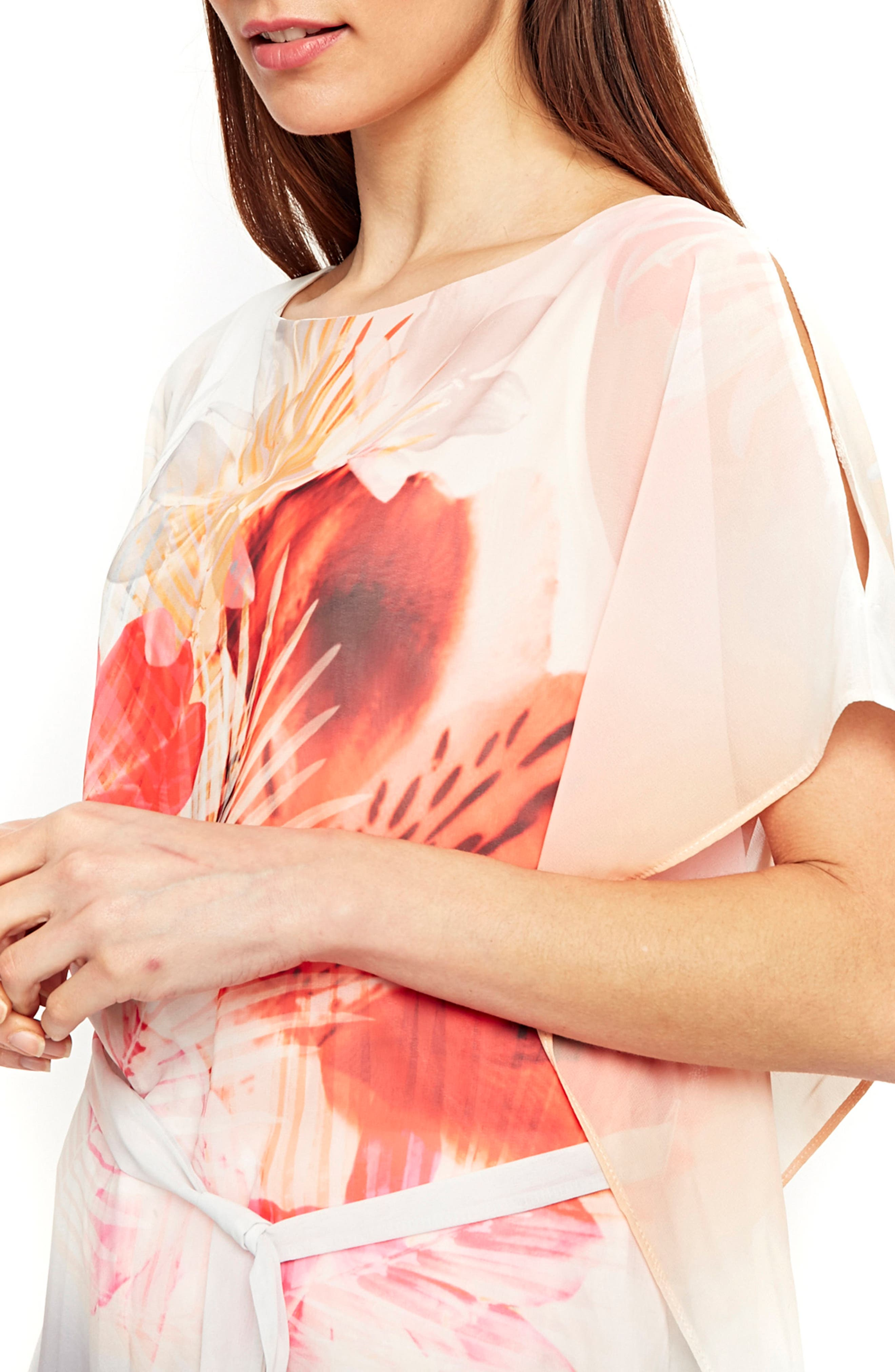Palm Sunrise Slit Sleeve Belted Top,                             Alternate thumbnail 4, color,                             Blush