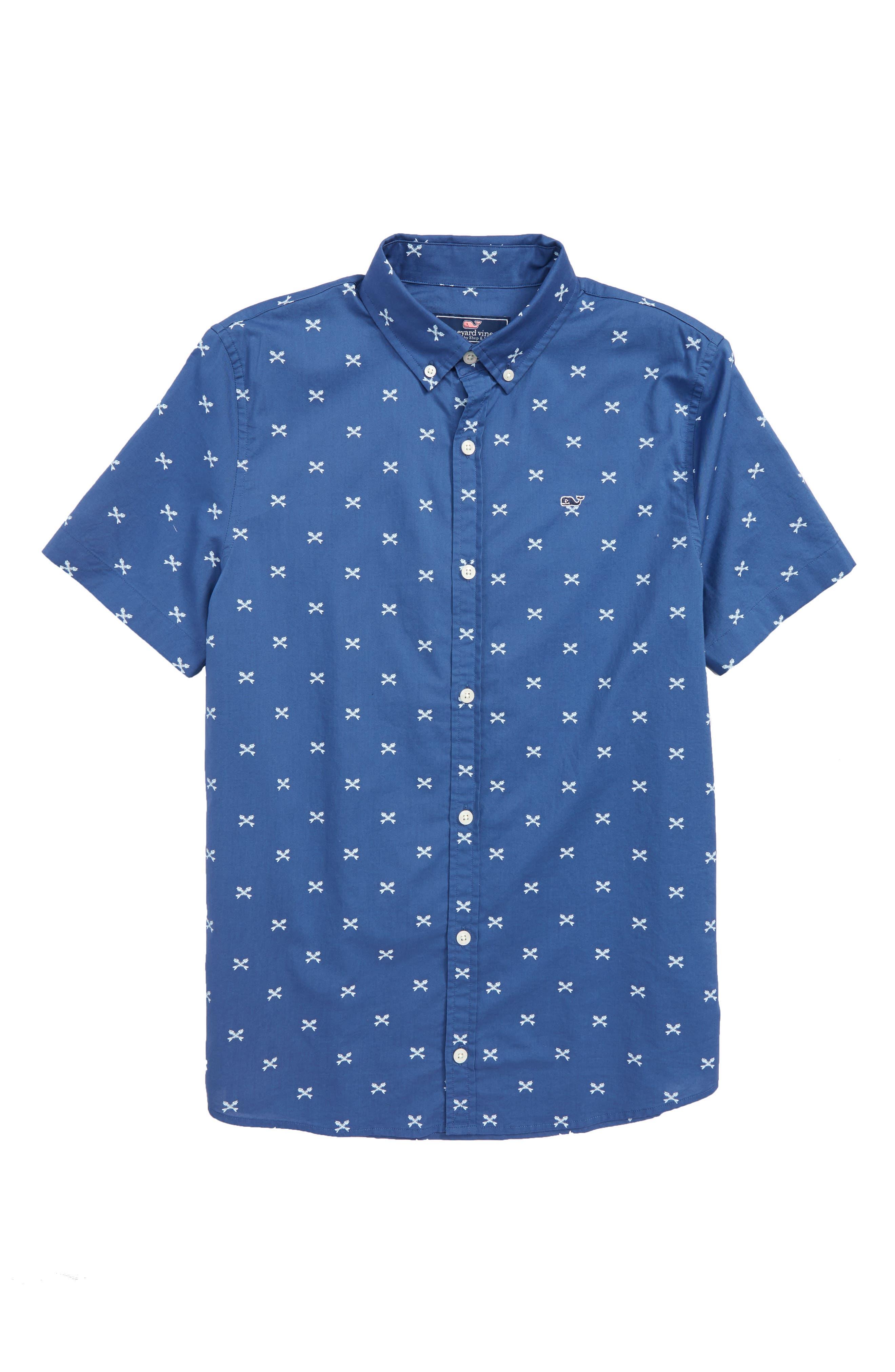Crossed Fish Bone Woven Shirt,                         Main,                         color, Moonshine
