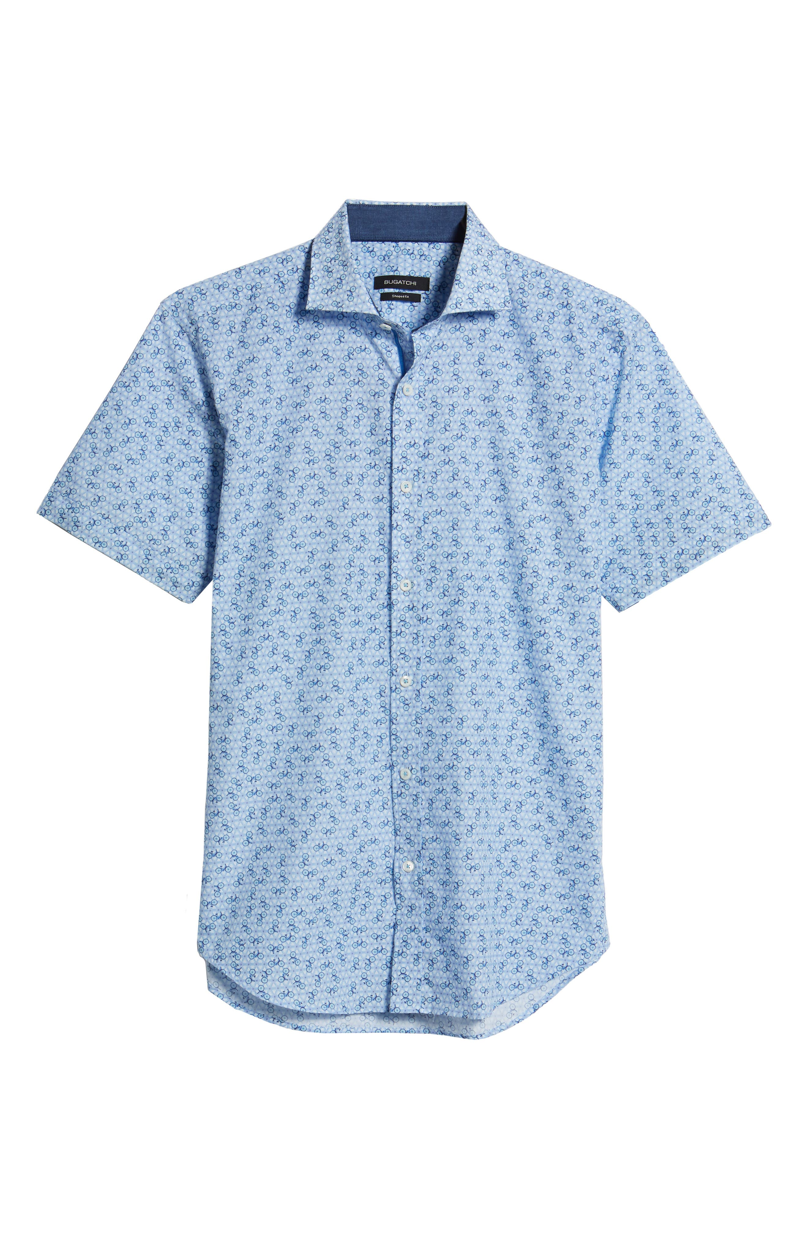 Shaped Fit Print Sport Shirt,                             Alternate thumbnail 6, color,                             Ice Blue