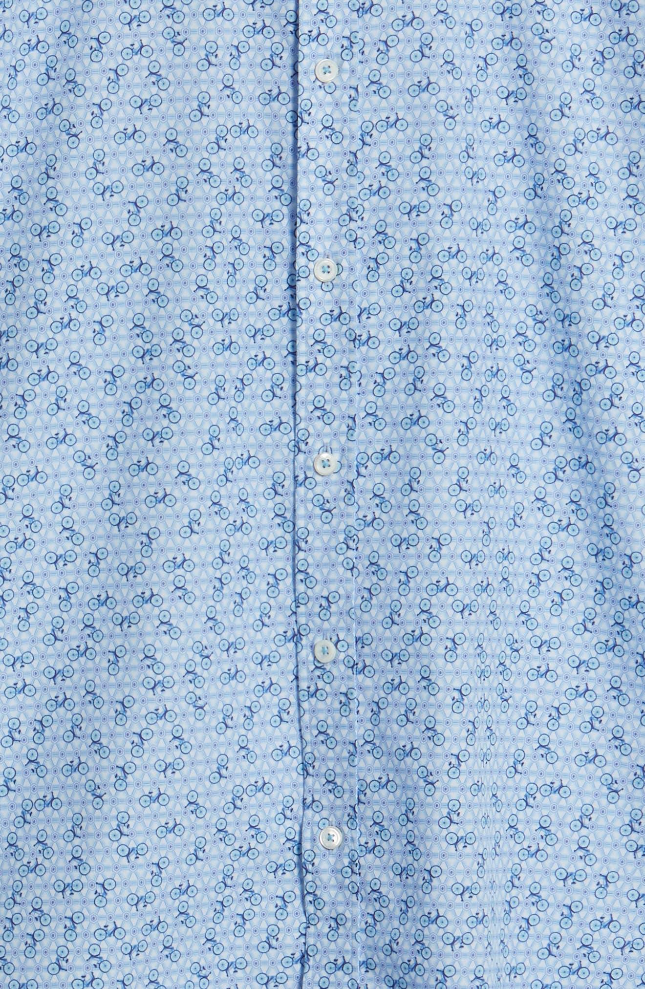 Shaped Fit Print Sport Shirt,                             Alternate thumbnail 5, color,                             Ice Blue