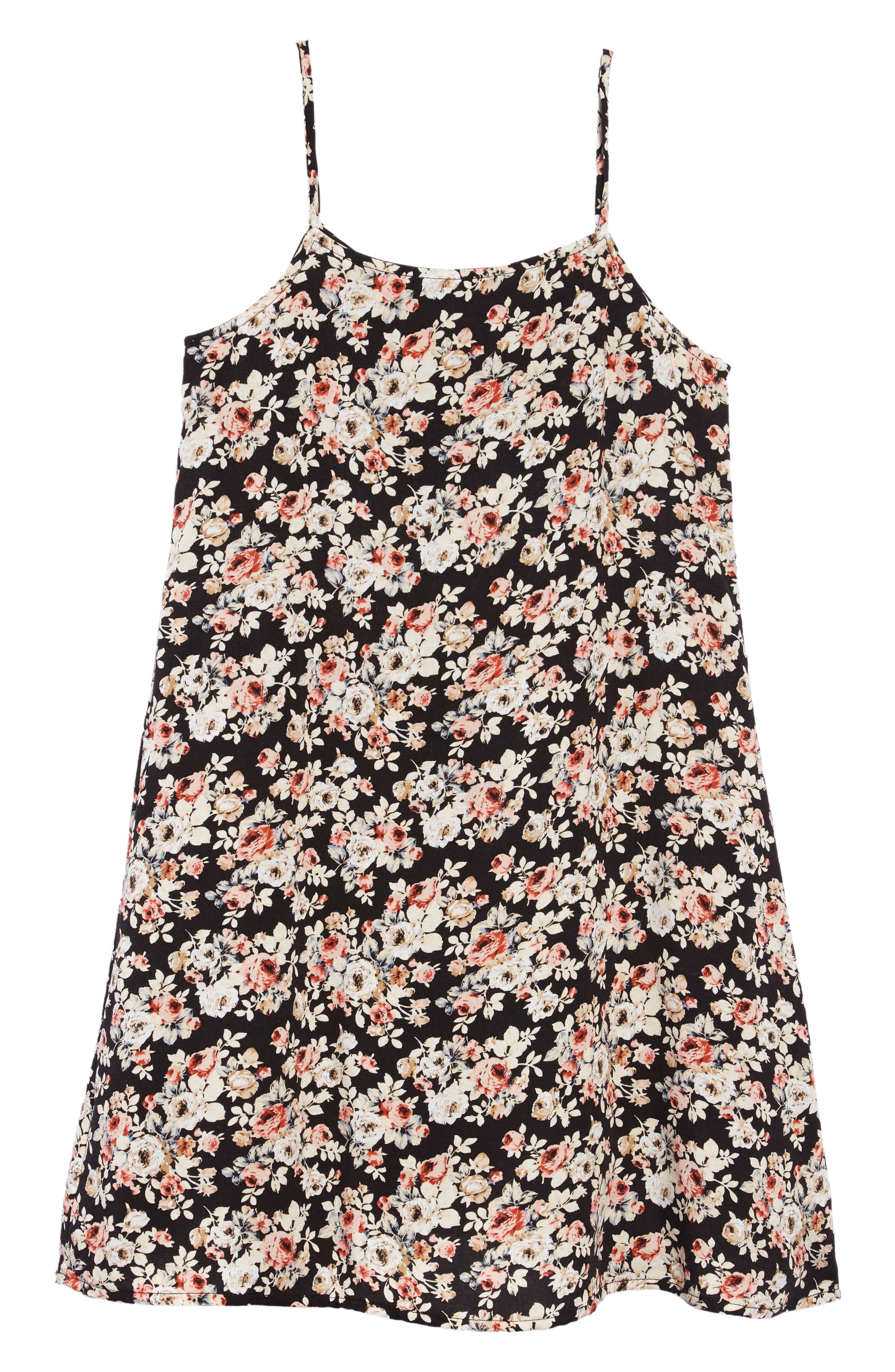 Floral Shift Dress,                             Alternate thumbnail 2, color,                             Black Floral