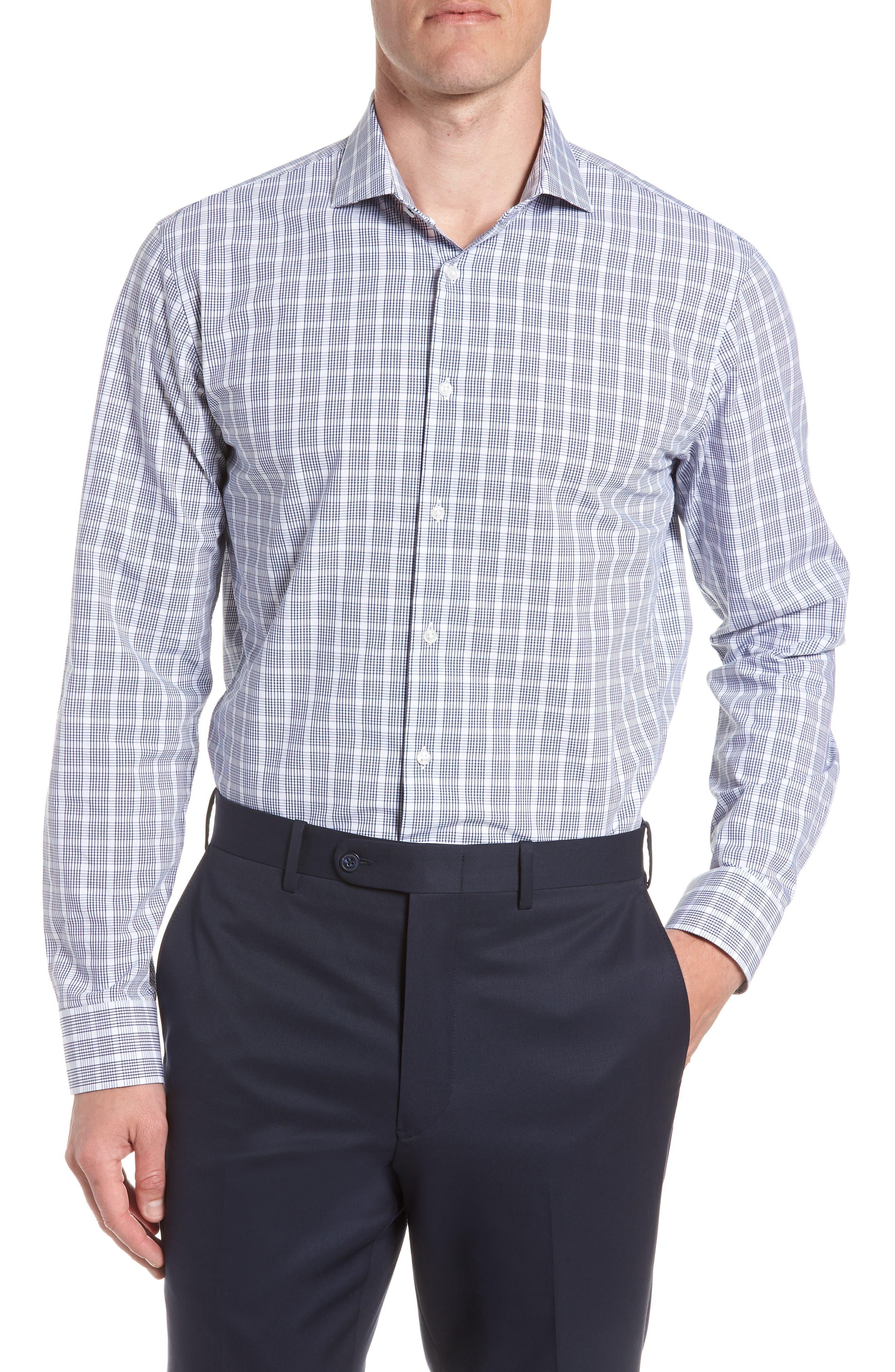 Tech-Smart Trim Fit Plaid Dress Shirt,                             Main thumbnail 1, color,                             Navy Dusk