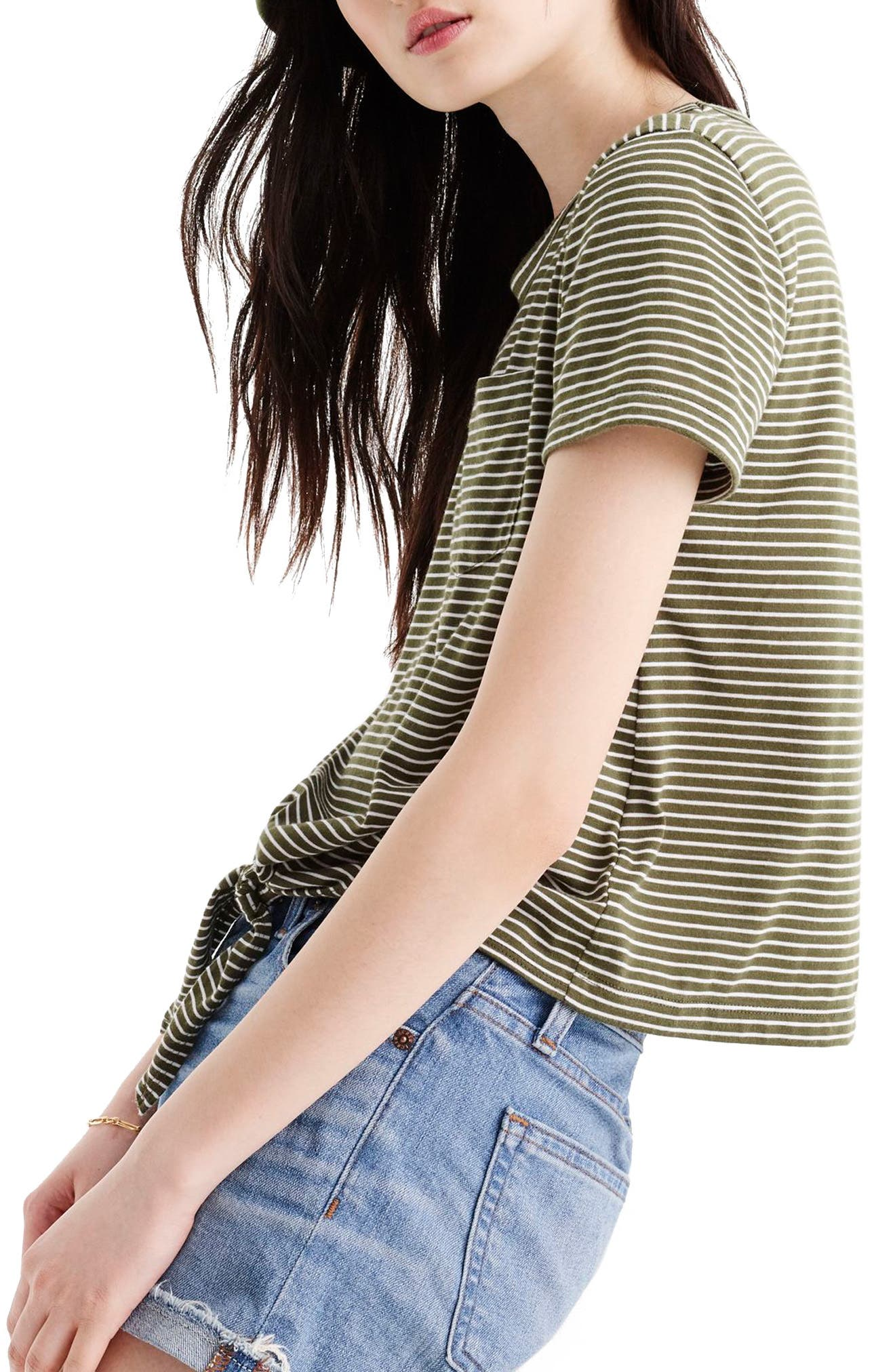 Knotted Stripe Pocket Tee,                             Alternate thumbnail 2, color,                             White Loden Green
