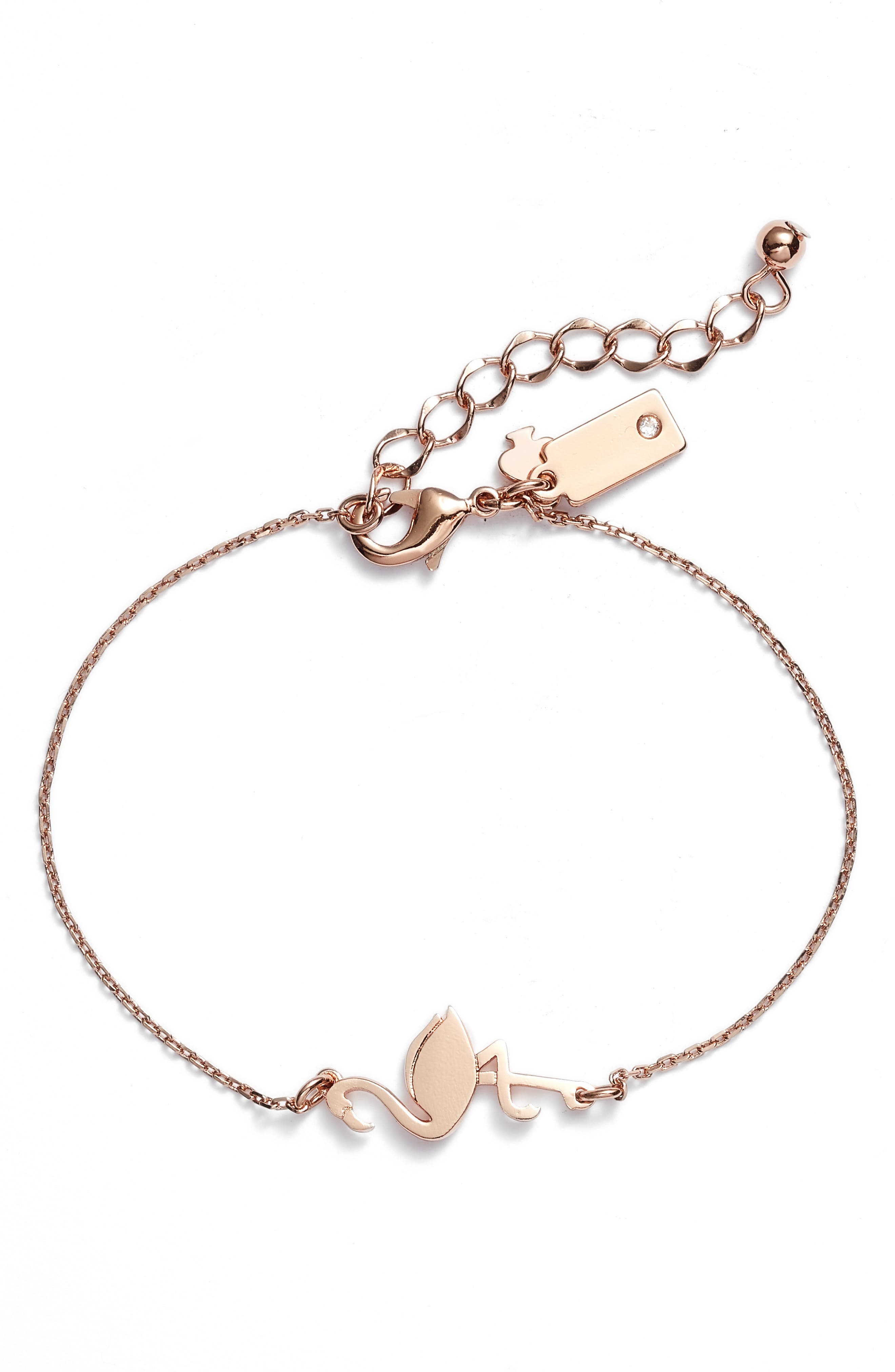 by the pool flamingo bracelet,                             Main thumbnail 1, color,                             Rose Gold