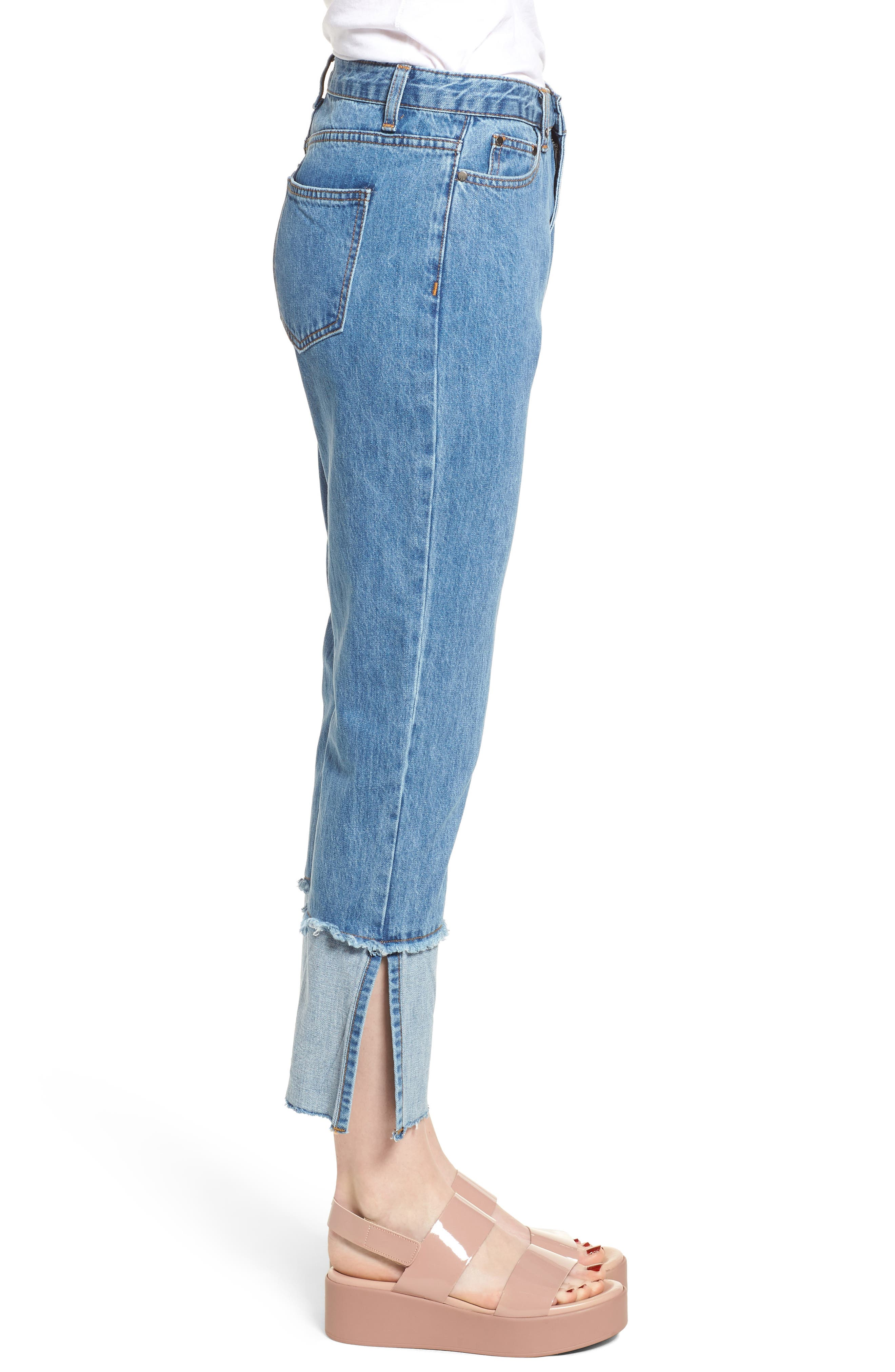 Cuffed Raw Hem Crop Jeans,                             Alternate thumbnail 6, color,                             Fairfax