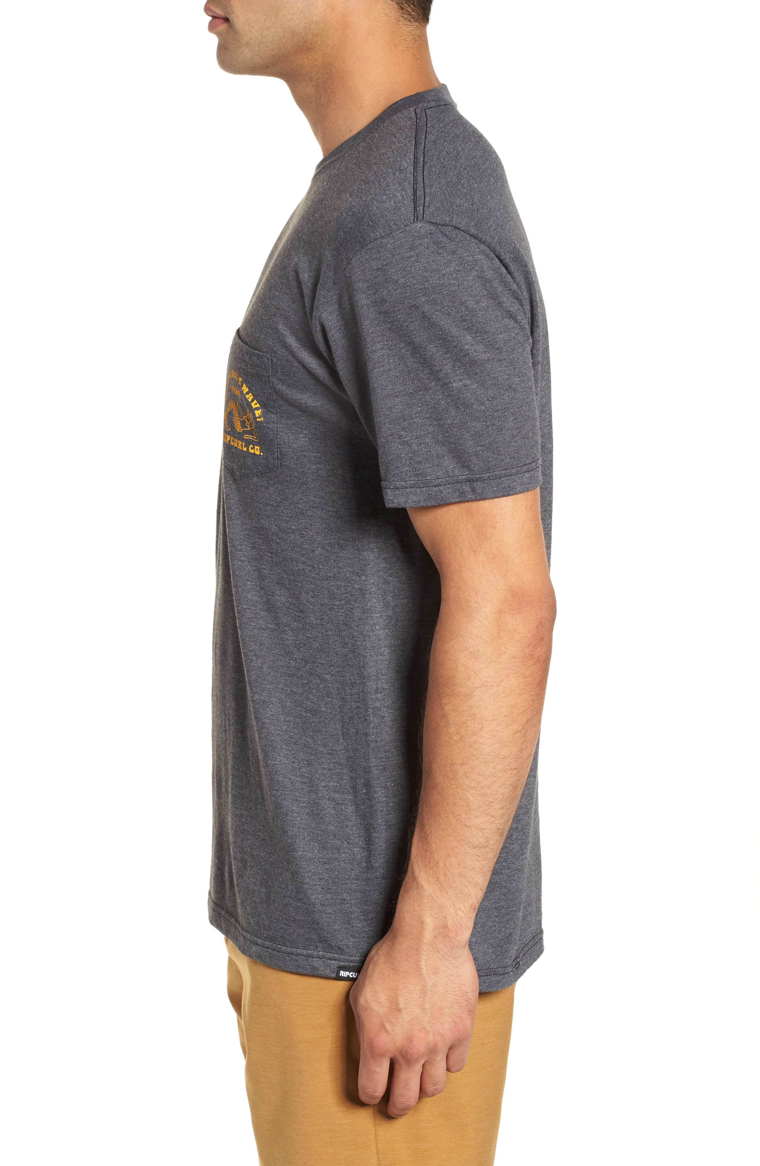 Merman Heathered Pocket T-Shirt,                             Alternate thumbnail 3, color,                             Charcoal