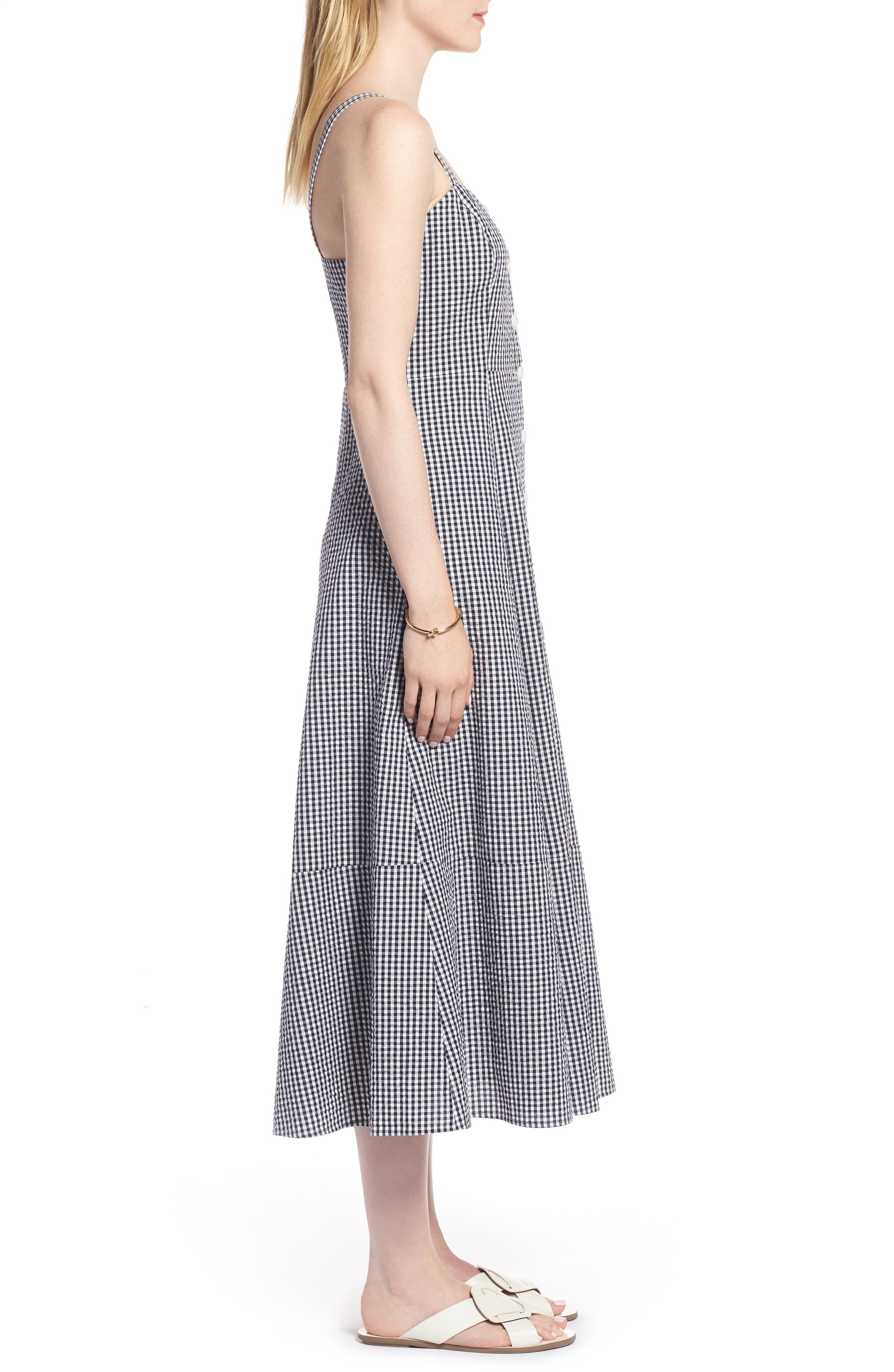 Gingham Button Front Cotton Blend Dress,                             Alternate thumbnail 3, color,                             Navy- White Gingham