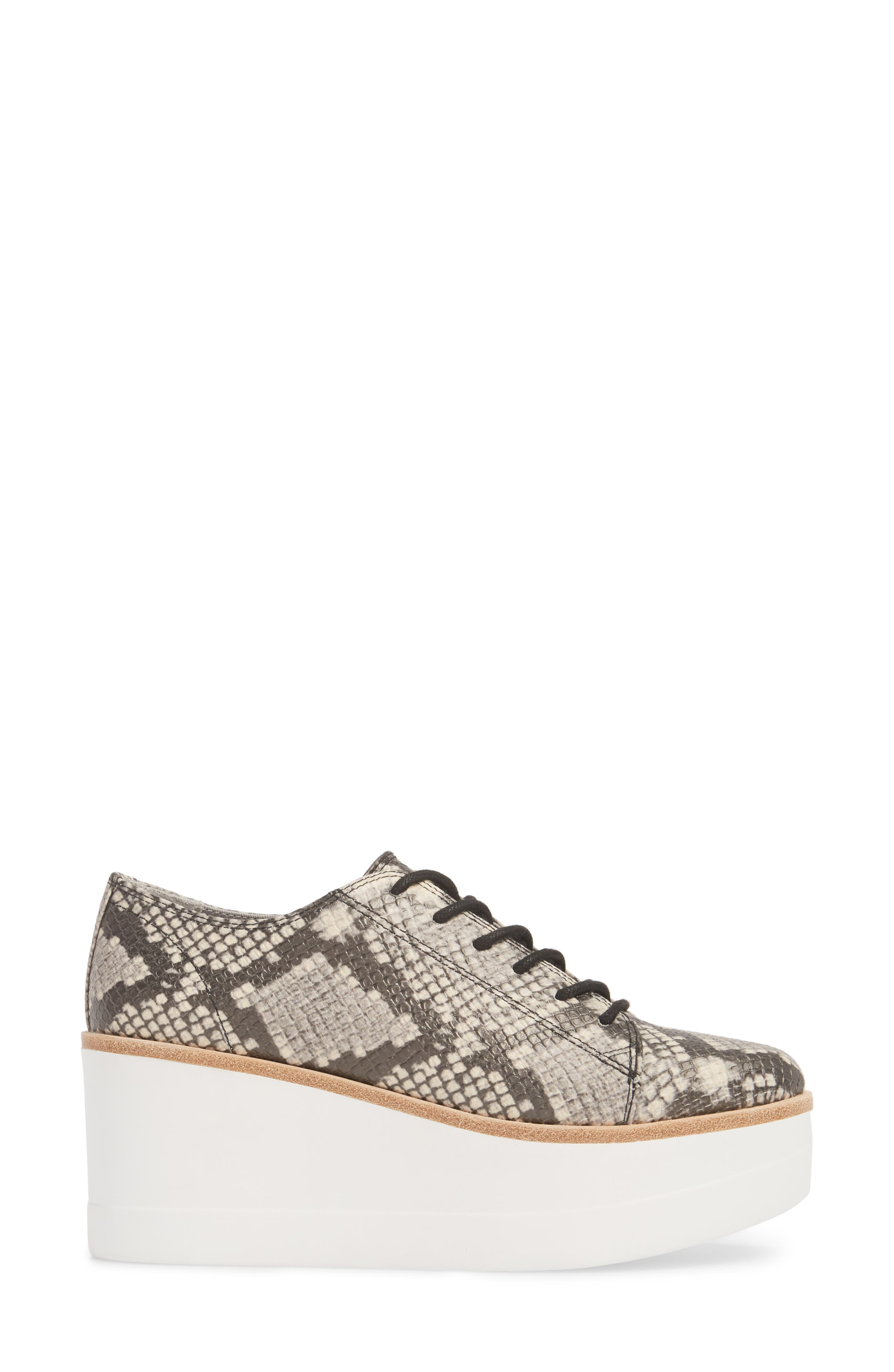 Kimber Wedge Platform Sneaker,                             Alternate thumbnail 3, color,                             Natural Snake Print