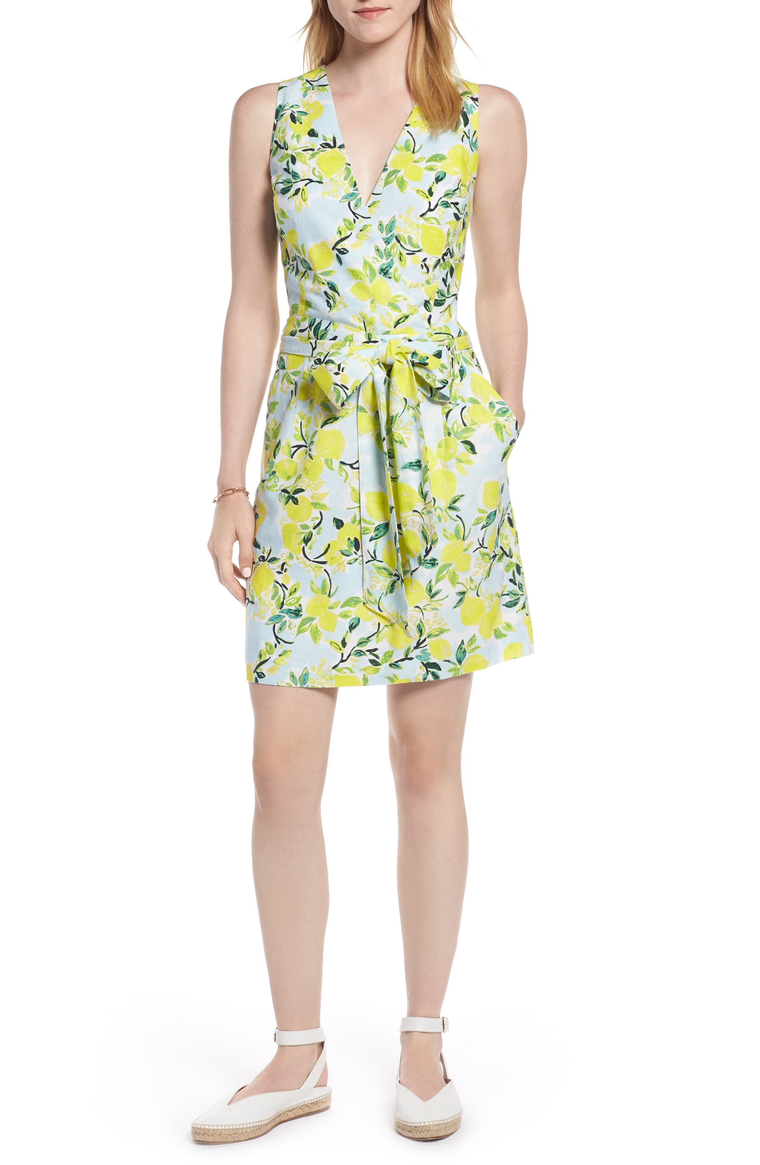 Tie Front Lemon Print Mini Dress,                             Main thumbnail 1, color,                             Blue- Yellow Citrus Print
