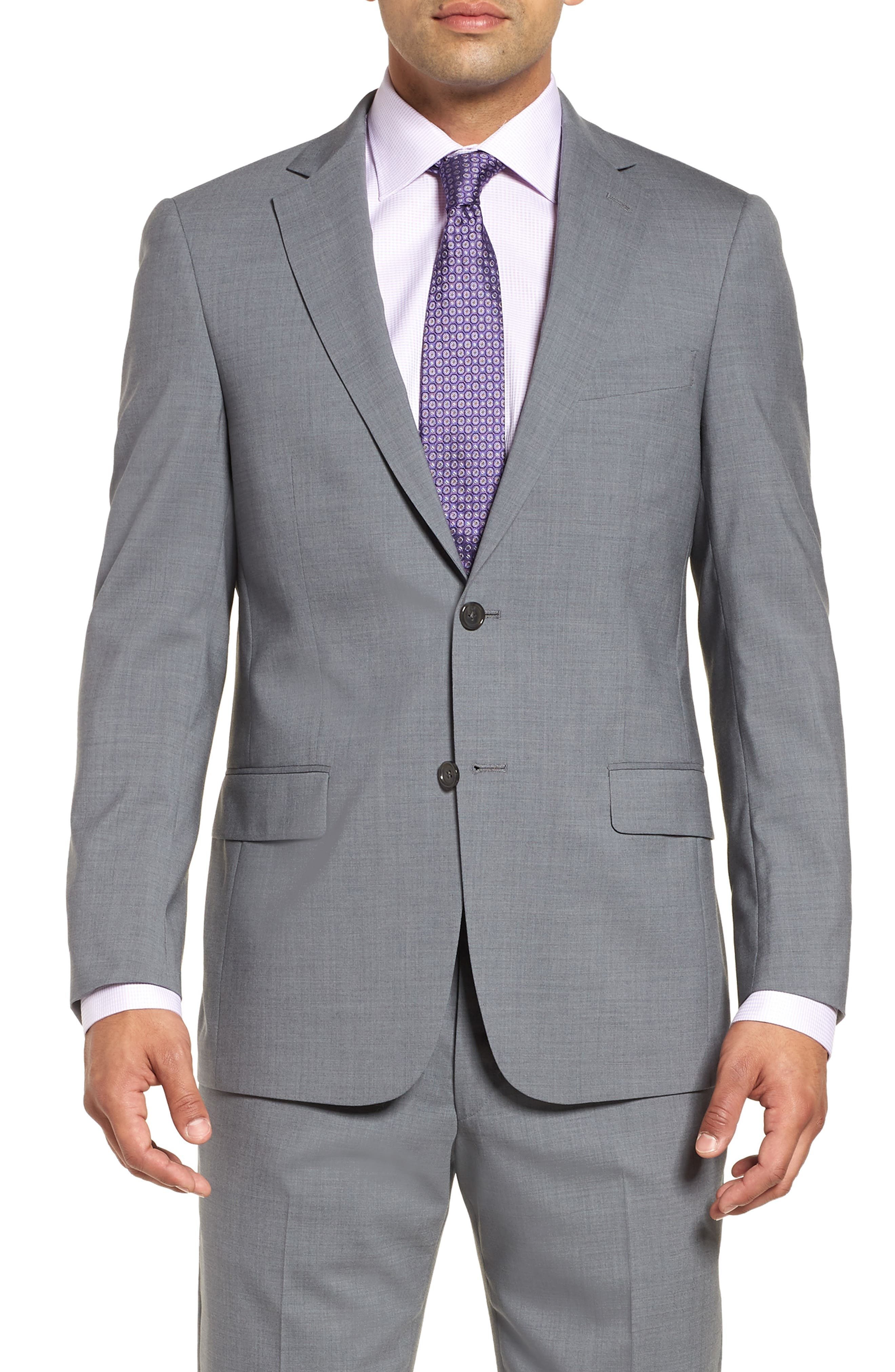Classic Fit Solid Stretch Wool Suit,                             Alternate thumbnail 5, color,                             Grey