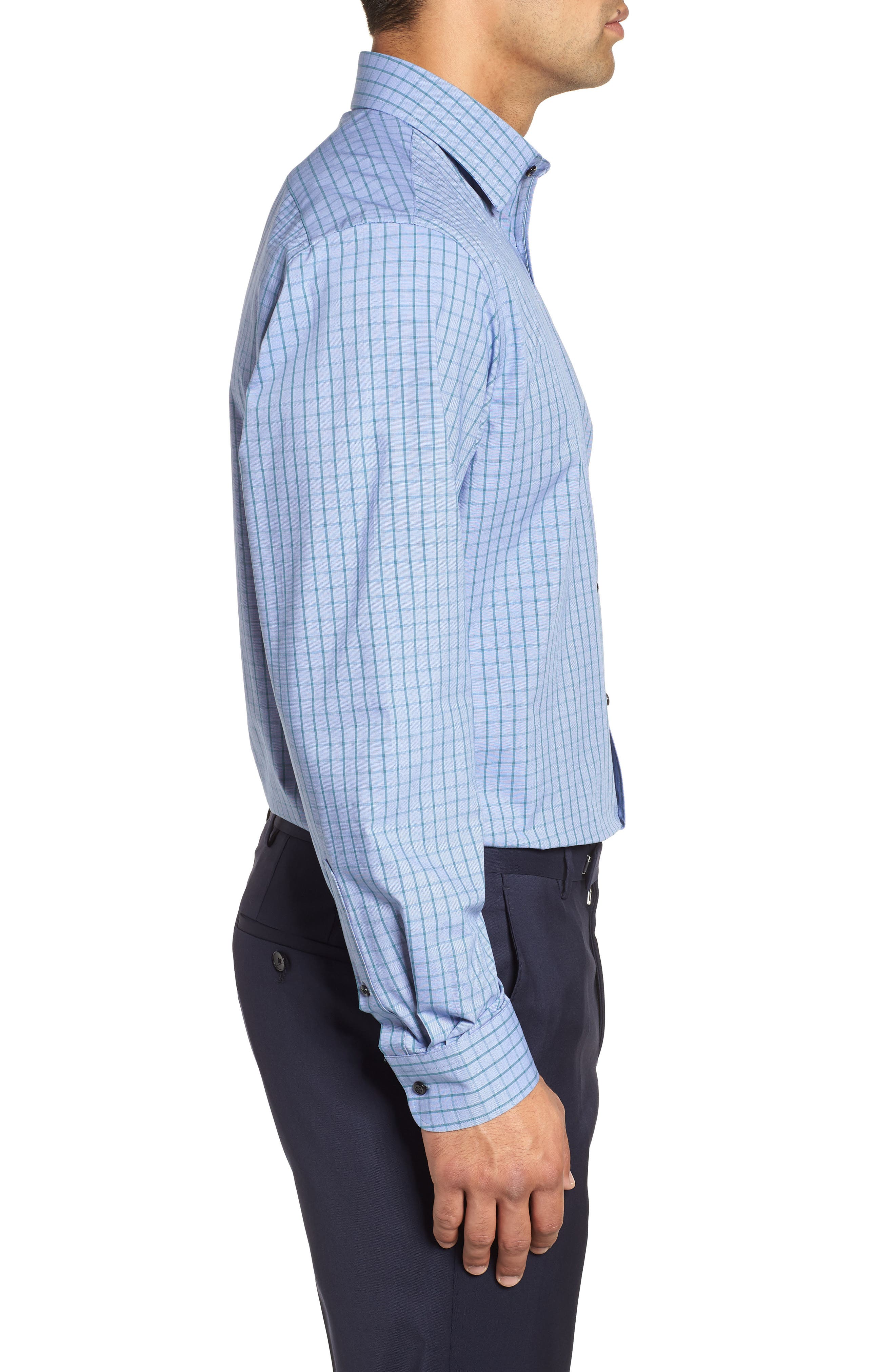Tech-Smart Traditional Fit Stretch Check Dress Shirt,                             Alternate thumbnail 4, color,                             Teal Hydro