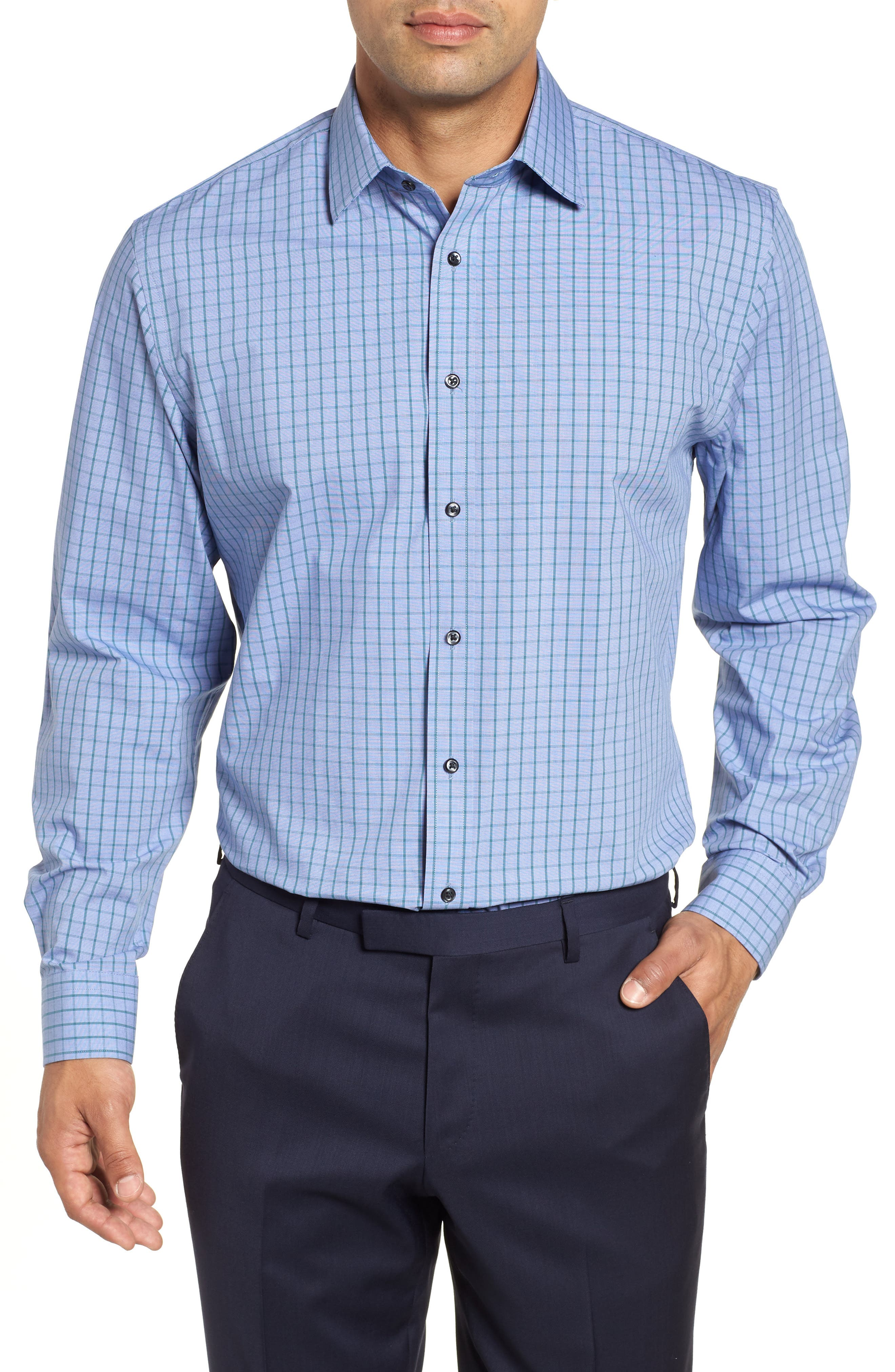 Tech-Smart Traditional Fit Stretch Check Dress Shirt,                             Main thumbnail 1, color,                             Teal Hydro