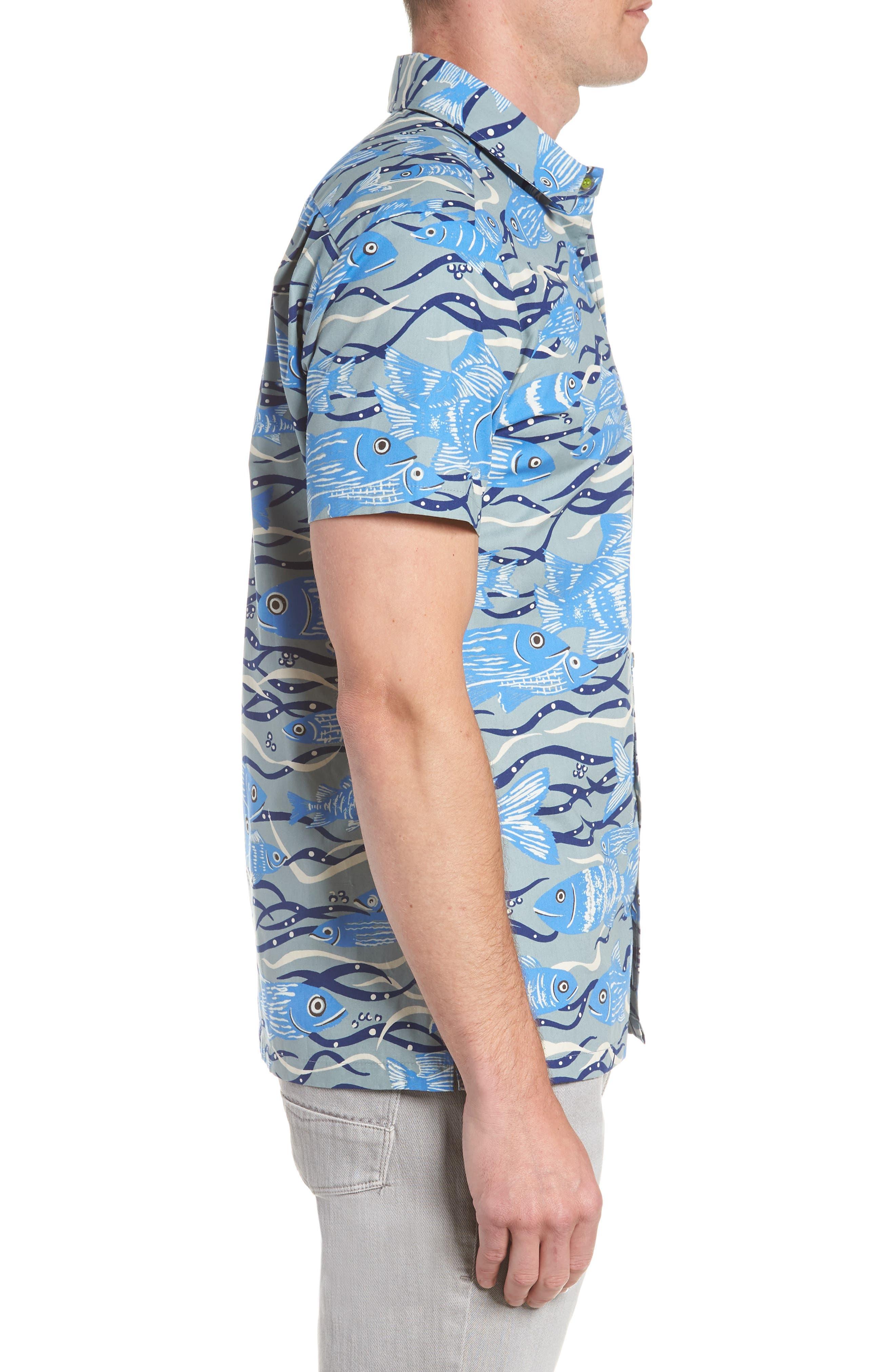 Sea Tangle Trim Fit Sport Shirt,                             Alternate thumbnail 4, color,                             Grey