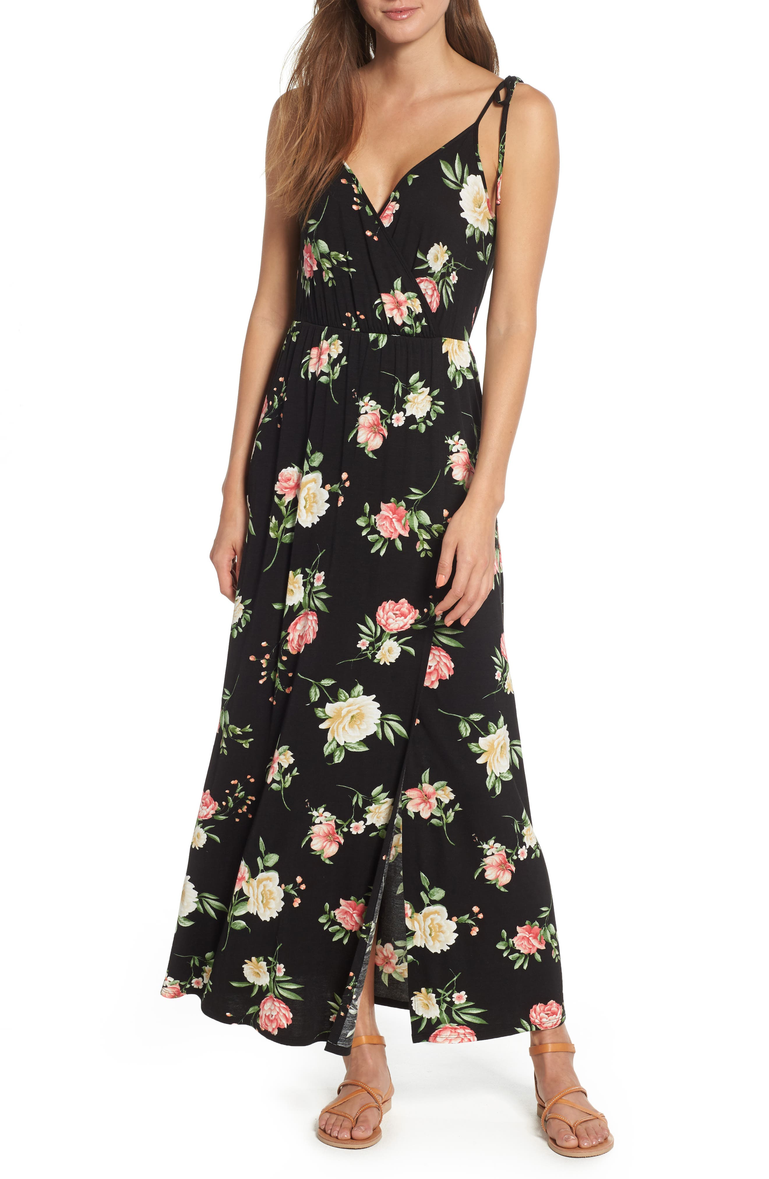 Faux Wrap Maxi Dress,                         Main,                         color, Black/ Coral