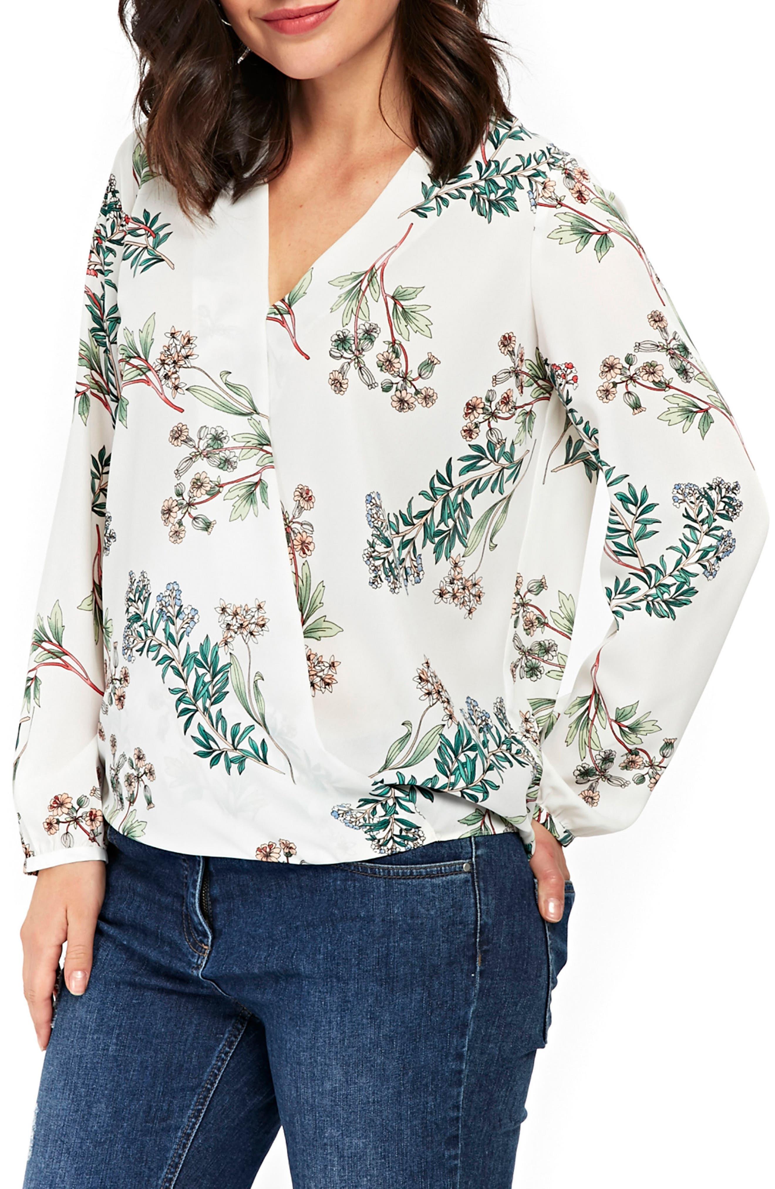 Floral Print Wrap Blouse,                         Main,                         color, Ivory