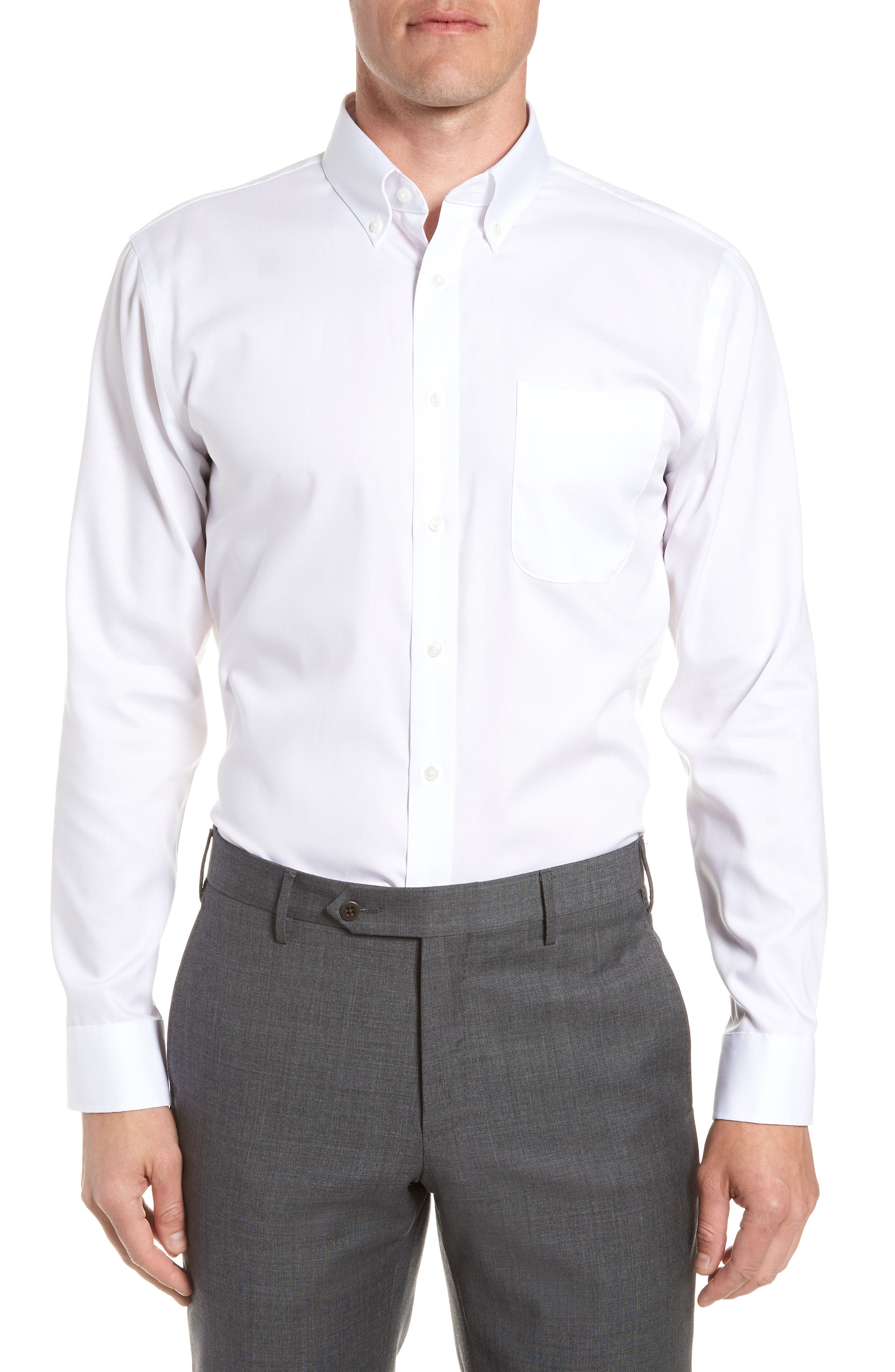 Trim Fit Non-Iron Dress Shirt,                             Main thumbnail 1, color,                             White