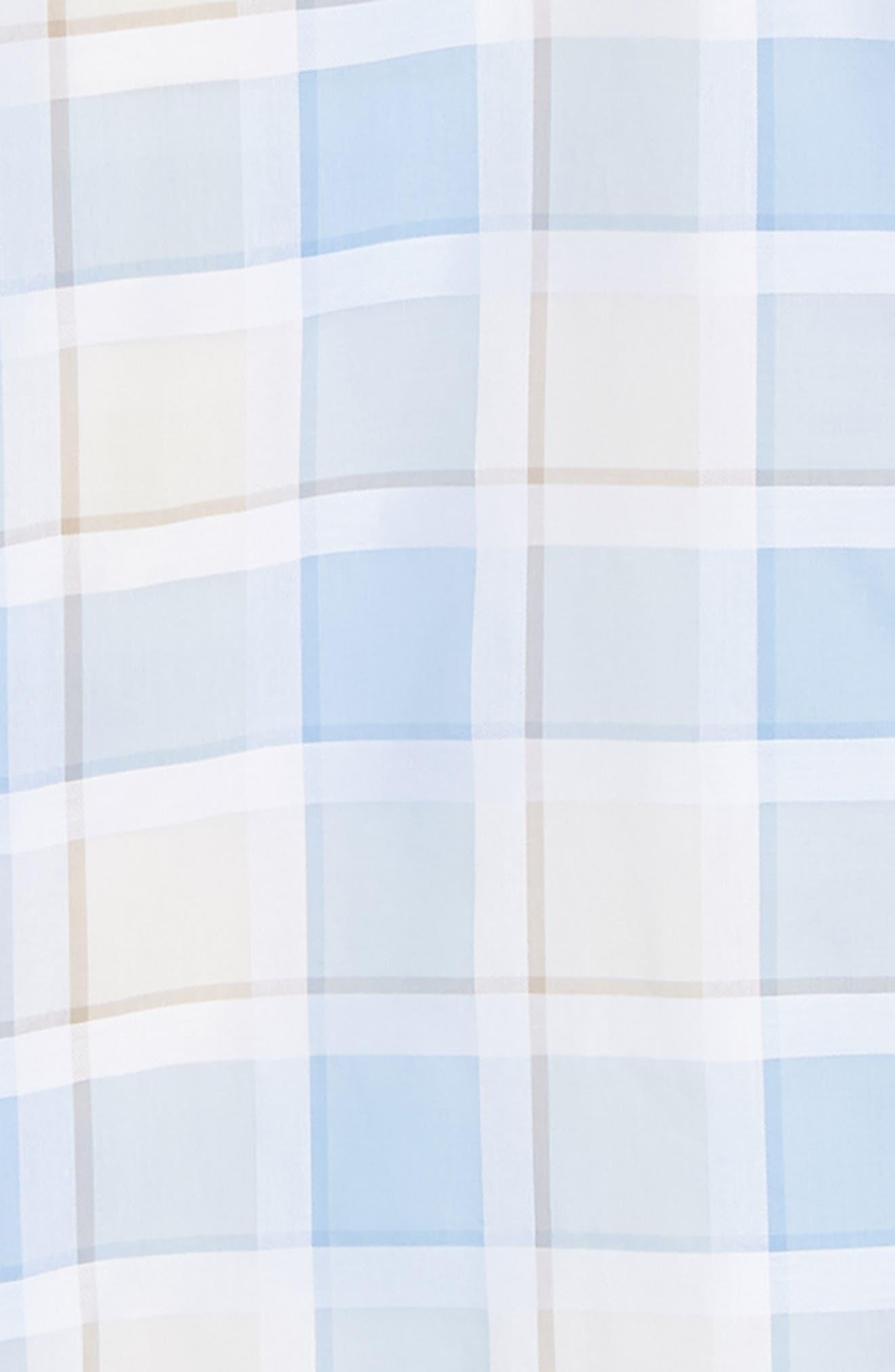 Classic Fit Plaid Sport Shirt,                             Alternate thumbnail 5, color,                             Sky