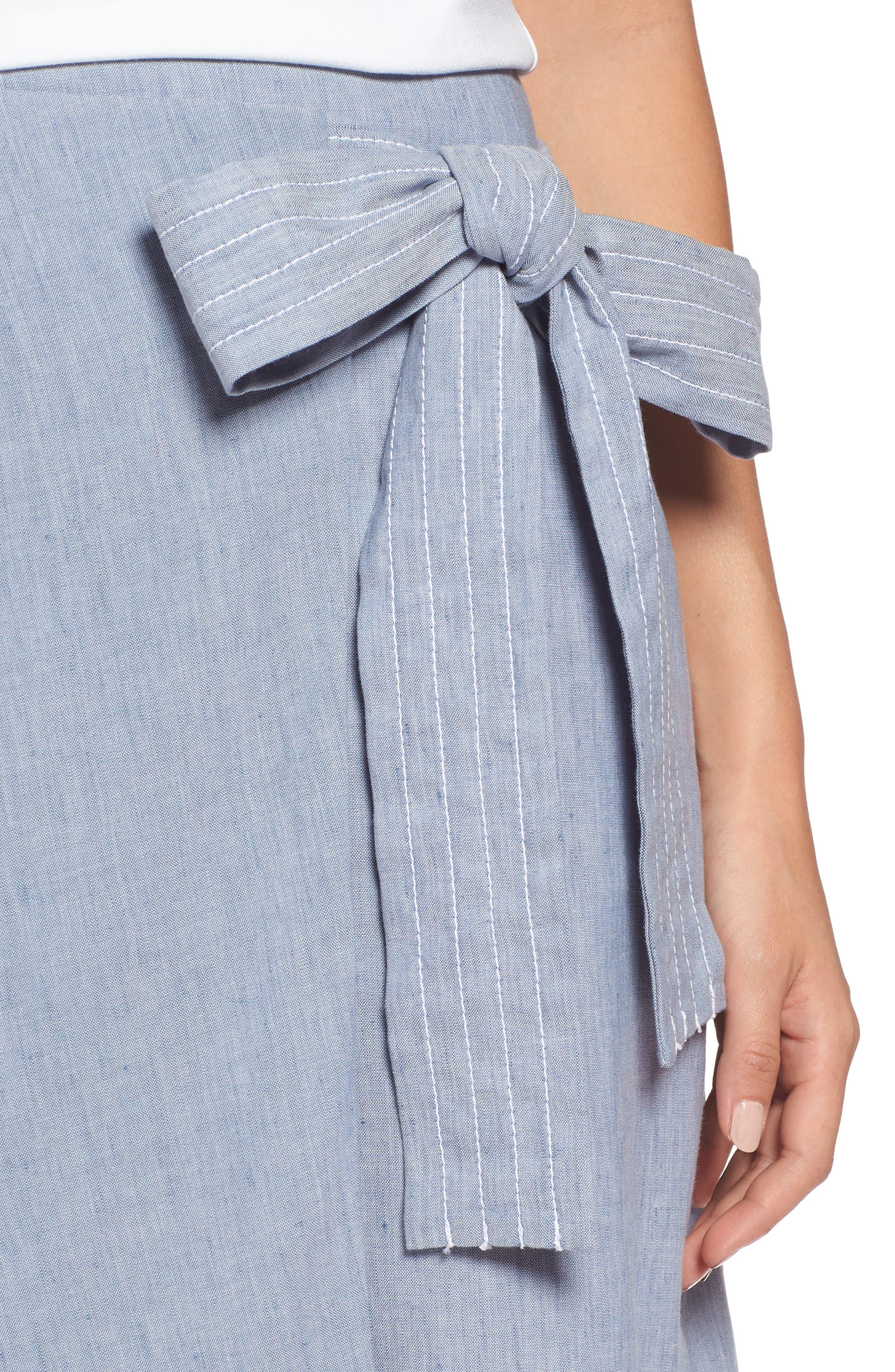 Wrap Style Chambray Linen Blend Miniskirt,                             Alternate thumbnail 4, color,                             Chambray