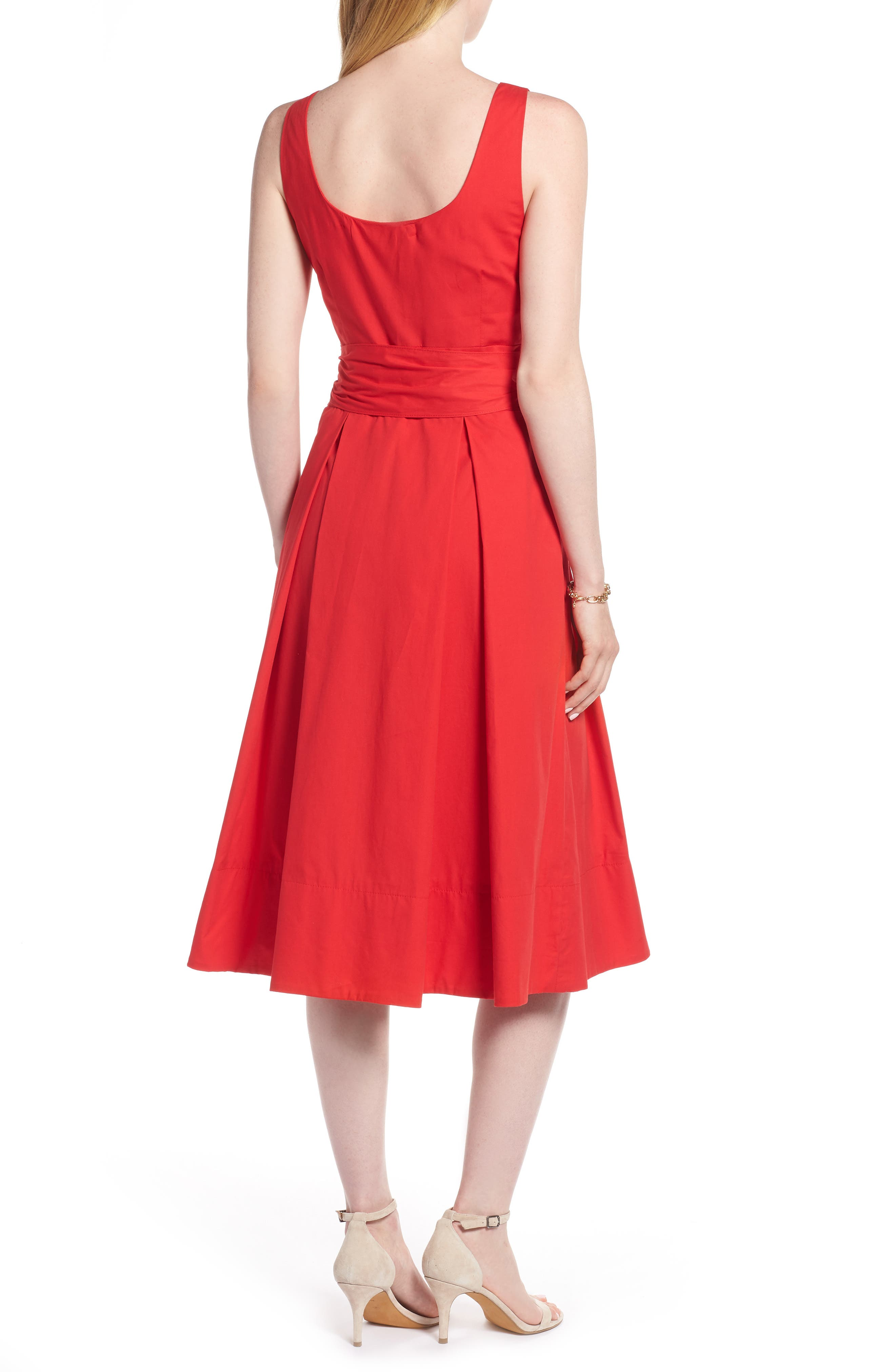 Button Front Fit & Flare Midi Dress,                             Alternate thumbnail 2, color,                             Red Saucy