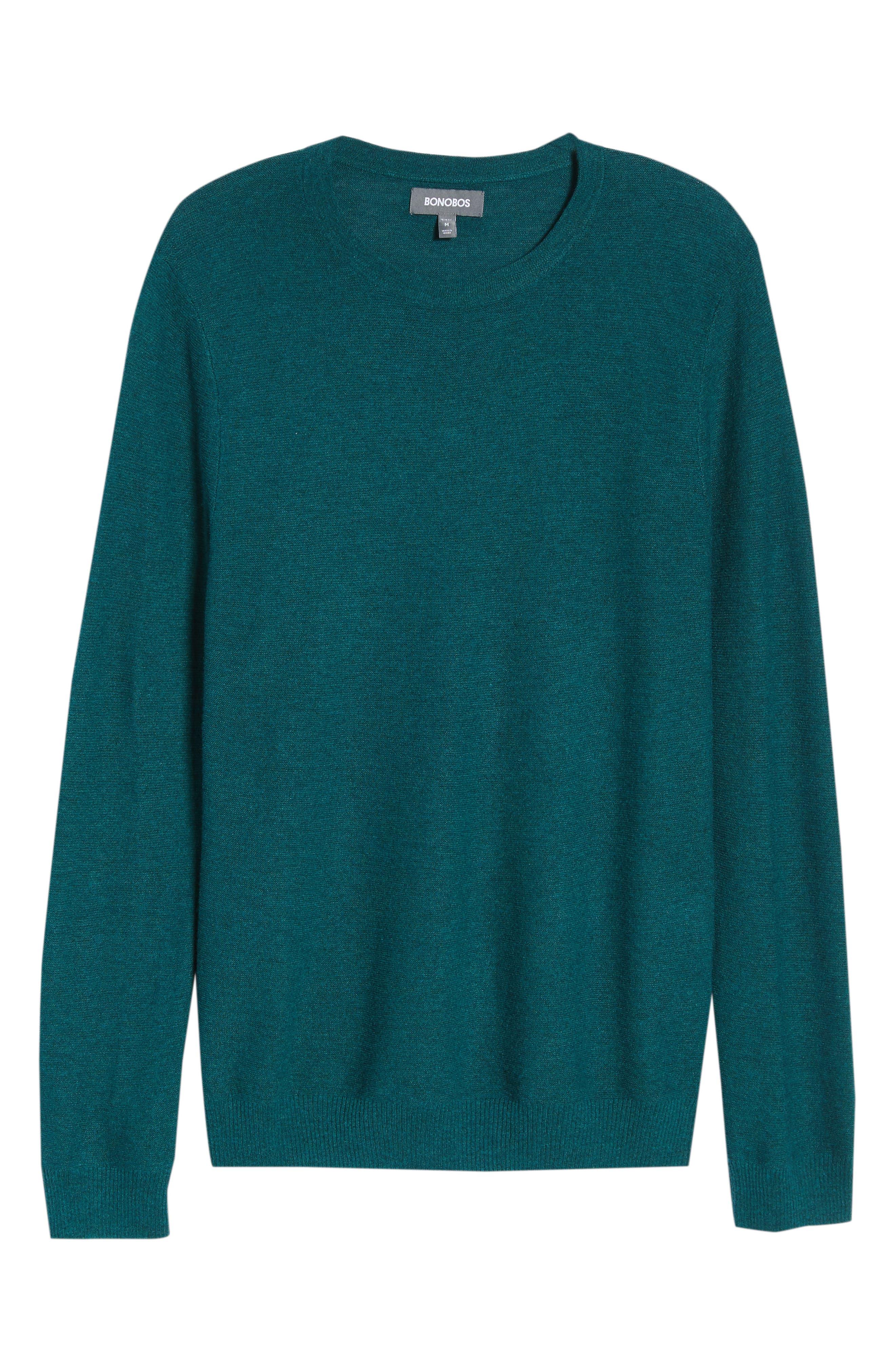 Slim Fit Crewneck Sweater,                             Alternate thumbnail 6, color,                             Heather Peacock