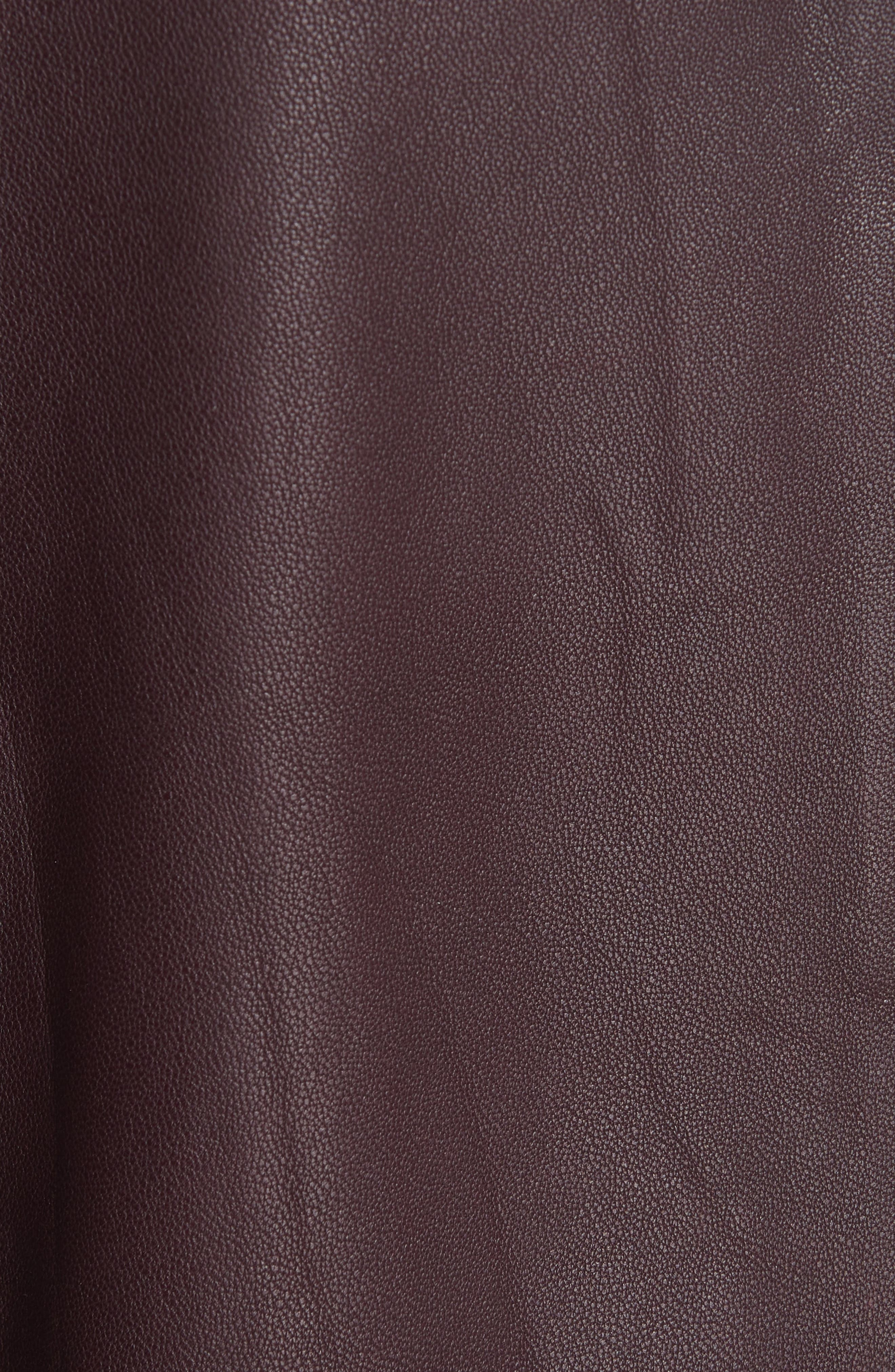Zip Cross Front Leather Jacket,                             Alternate thumbnail 4, color,                             Black Cherry