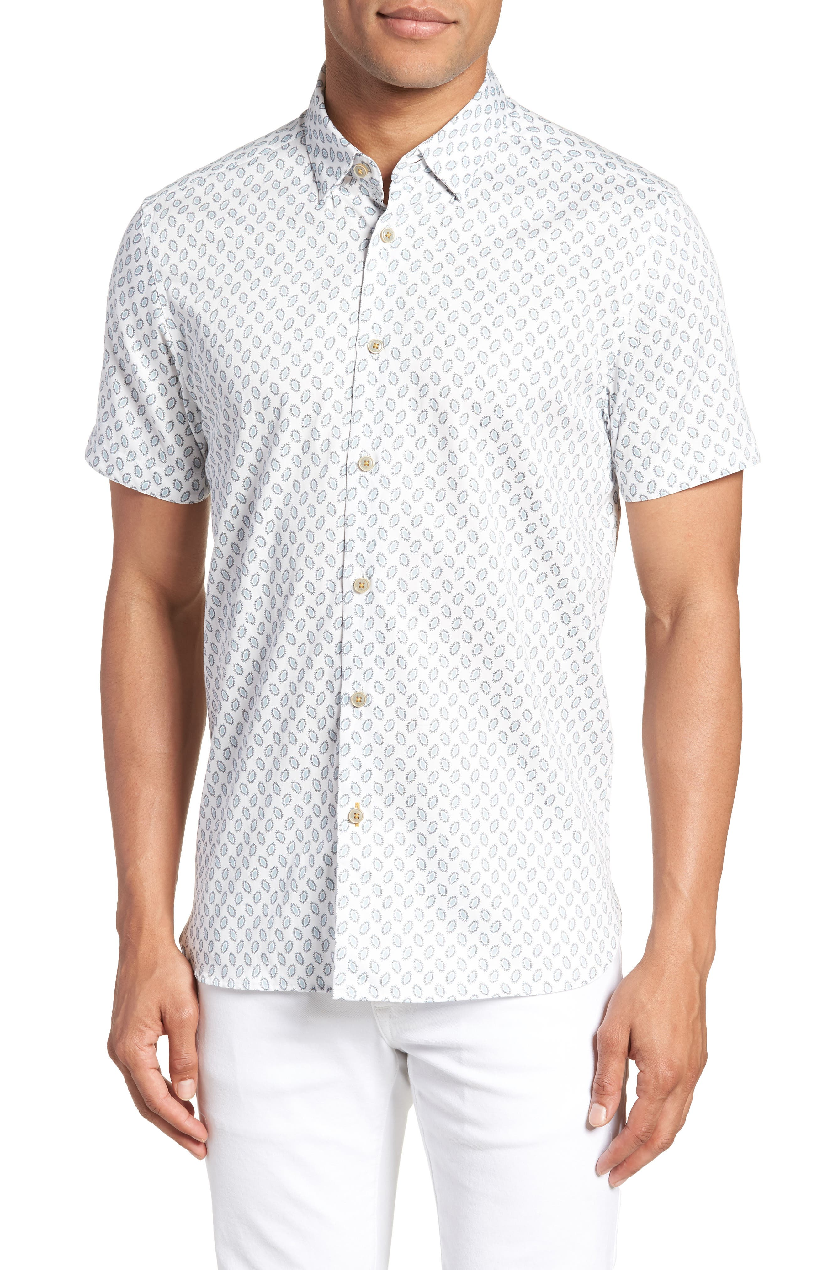 Newfone Trim Fit Chambray Sport Shirt,                             Main thumbnail 1, color,                             White