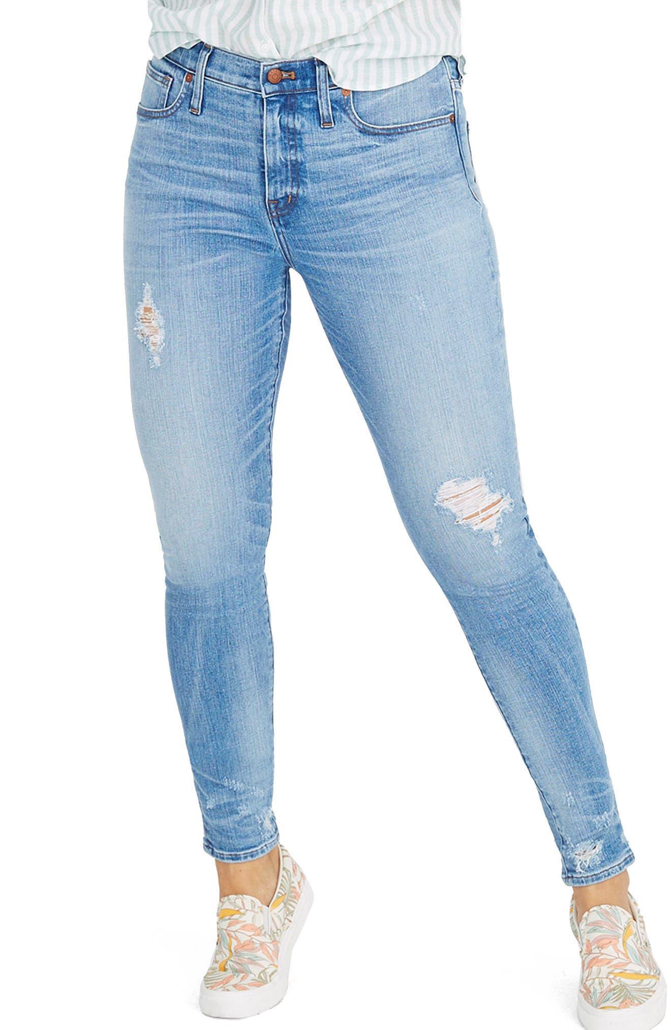 9-Inch Destructed Hem High Waist Skinny Jeans,                             Main thumbnail 1, color,                             Cliff Wash