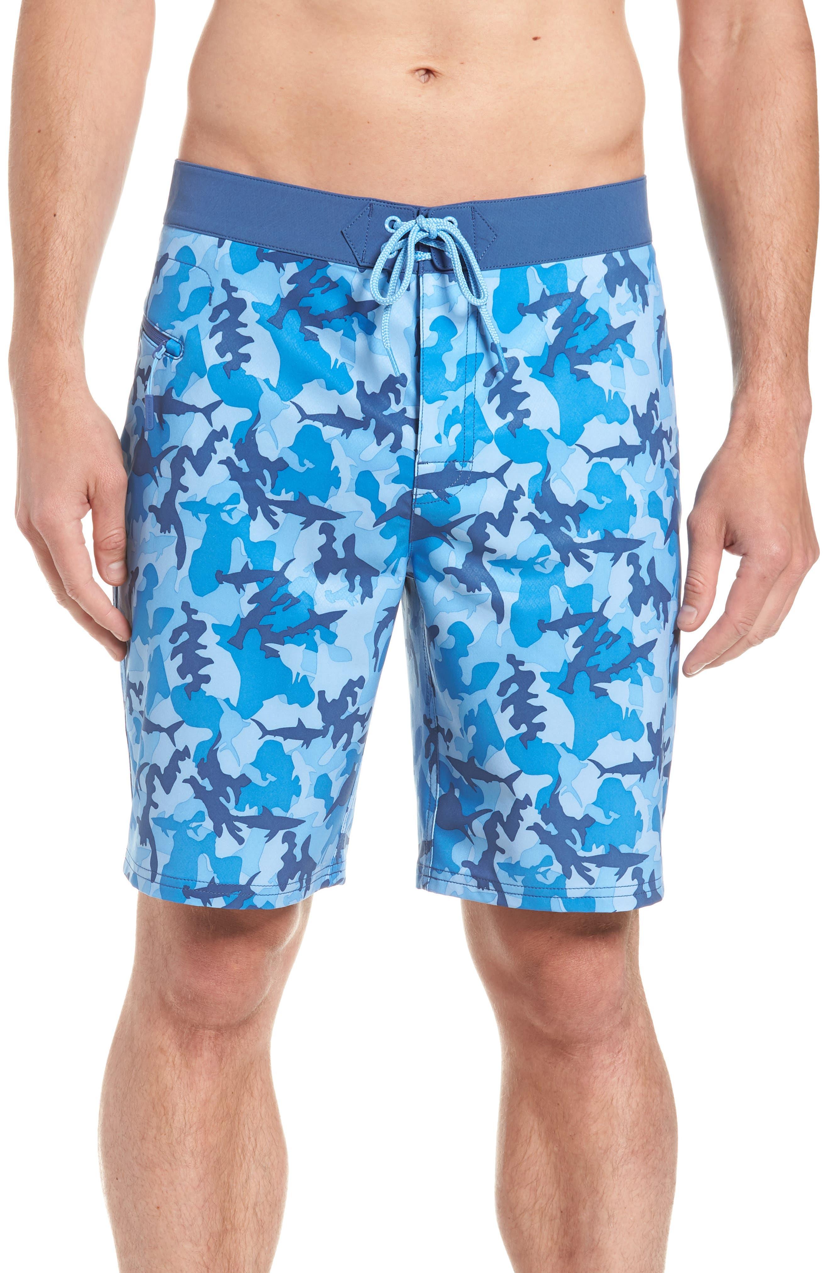 x Shark Week<sup>™</sup> Shark Camo Board Shorts,                             Main thumbnail 1, color,                             Hull Blue