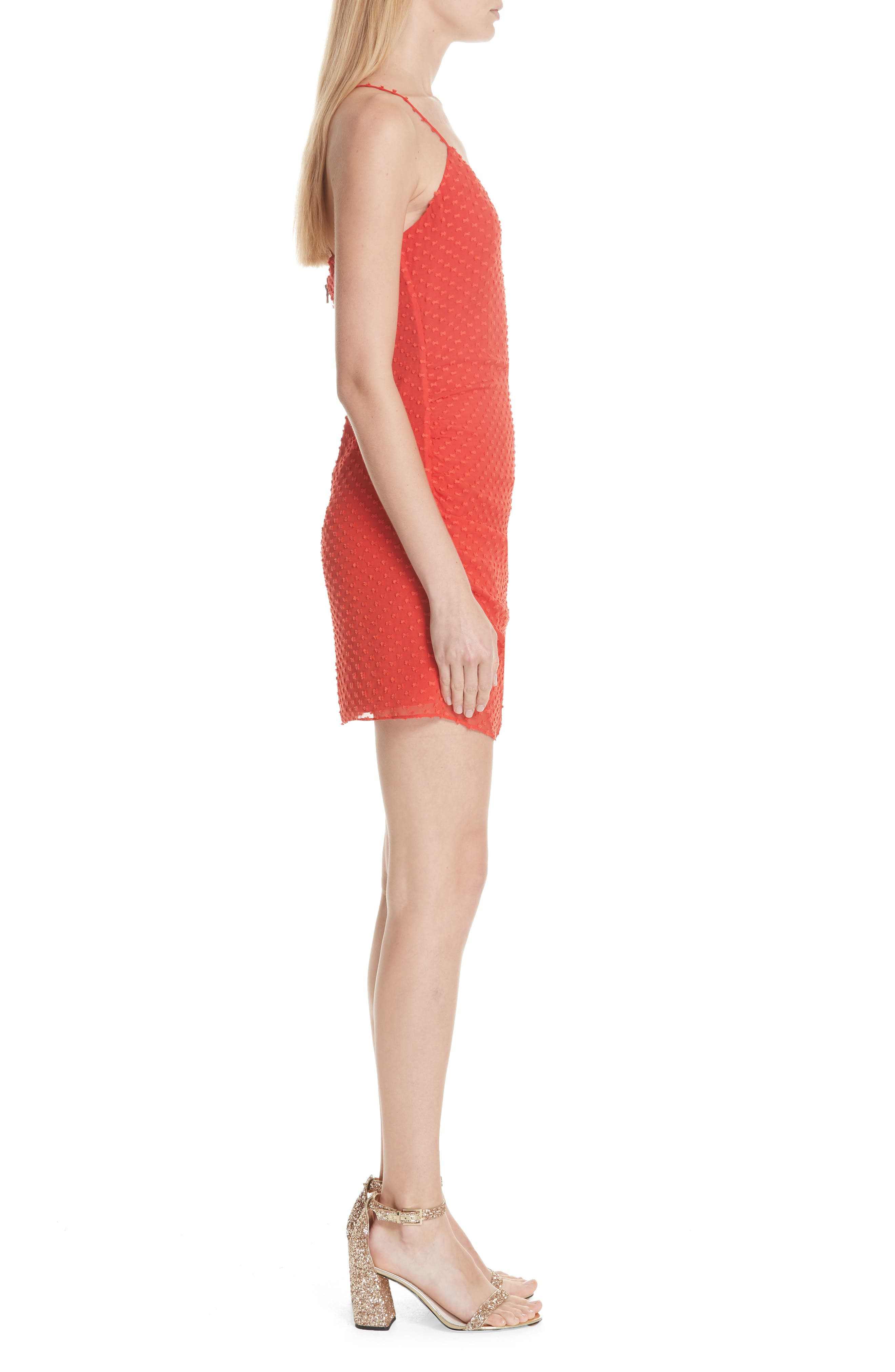 Daria Ruched Flare Silk Cotton Dress,                             Alternate thumbnail 5, color,                             Perfect Poppy