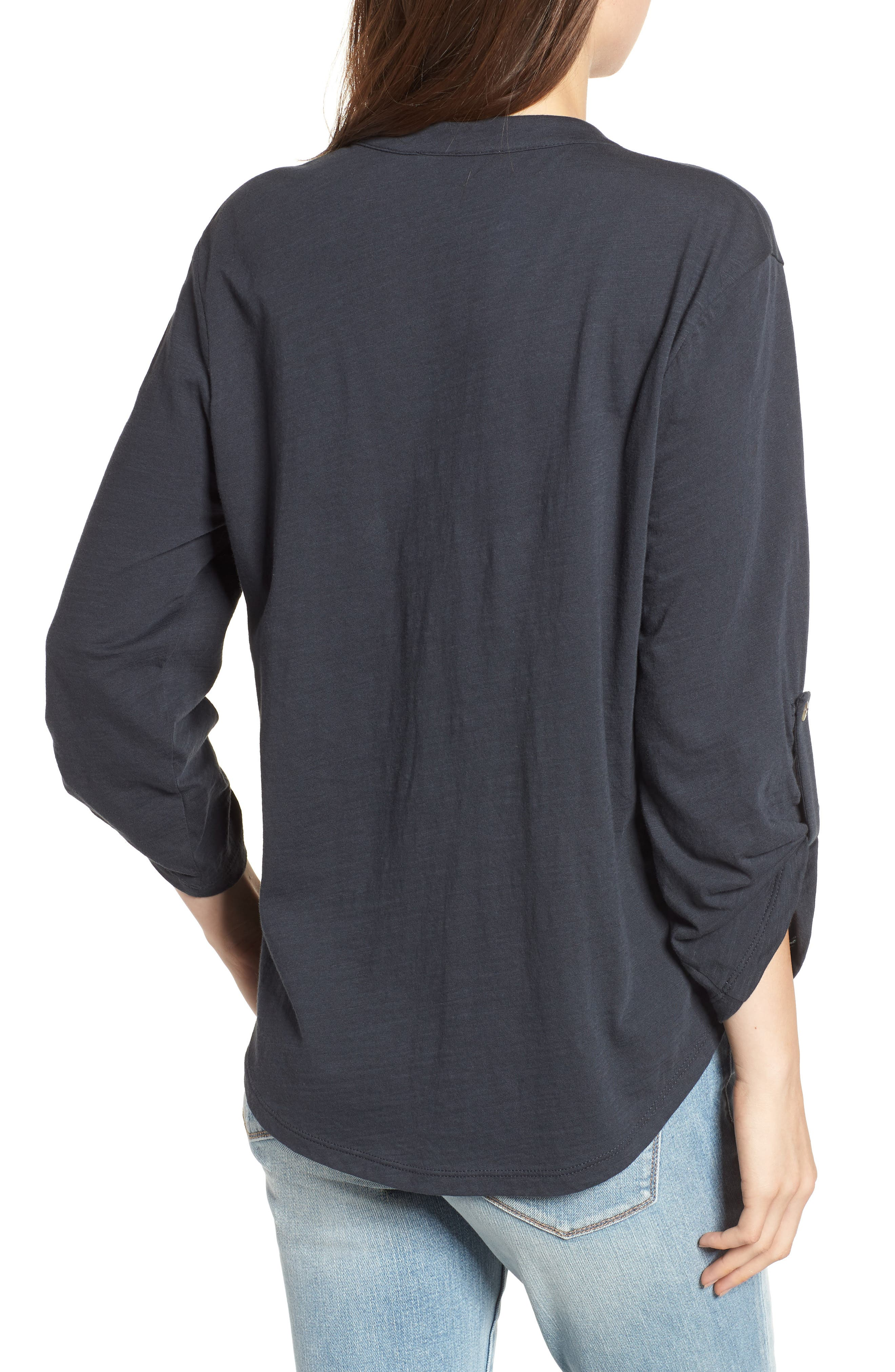 Knit Henley,                             Alternate thumbnail 2, color,                             Charcoal