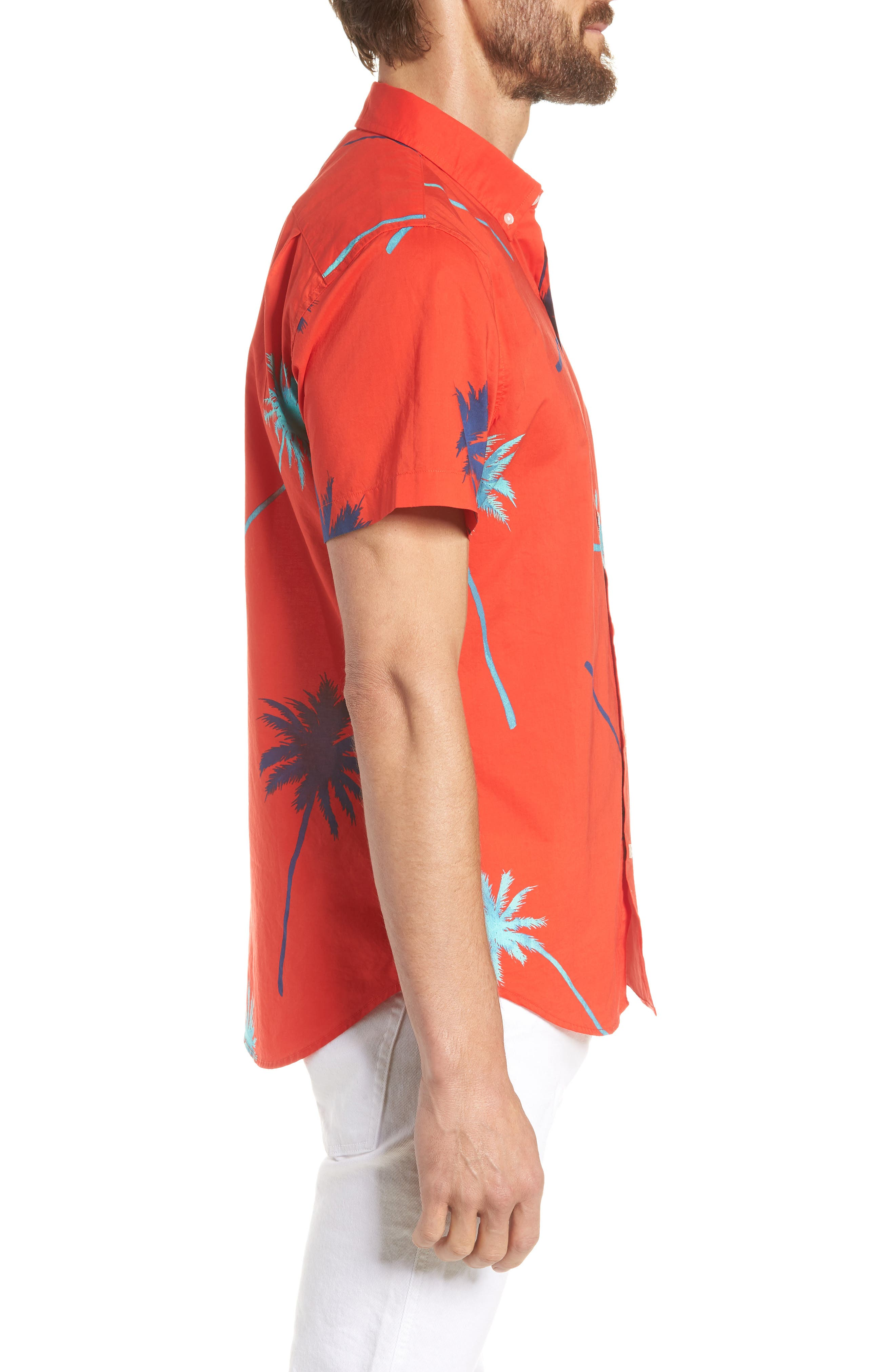 Riviera Slim Fit Palm Print Sport Shirt,                             Alternate thumbnail 4, color,                             Palm Tree View - Goji Berry