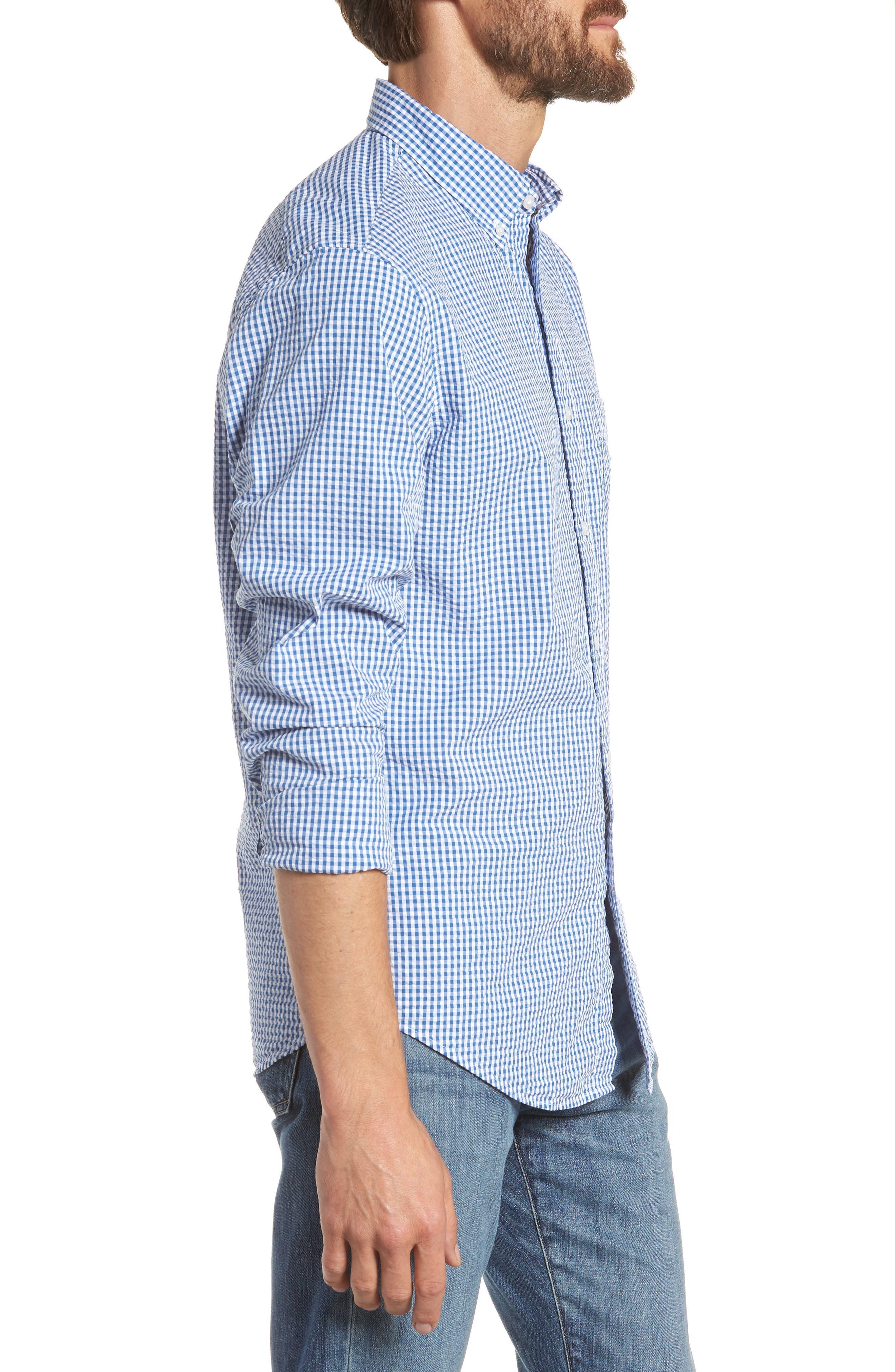 Slim Fit Gingham Seersucker Sport Shirt,                             Alternate thumbnail 4, color,                             Calm Lagoon
