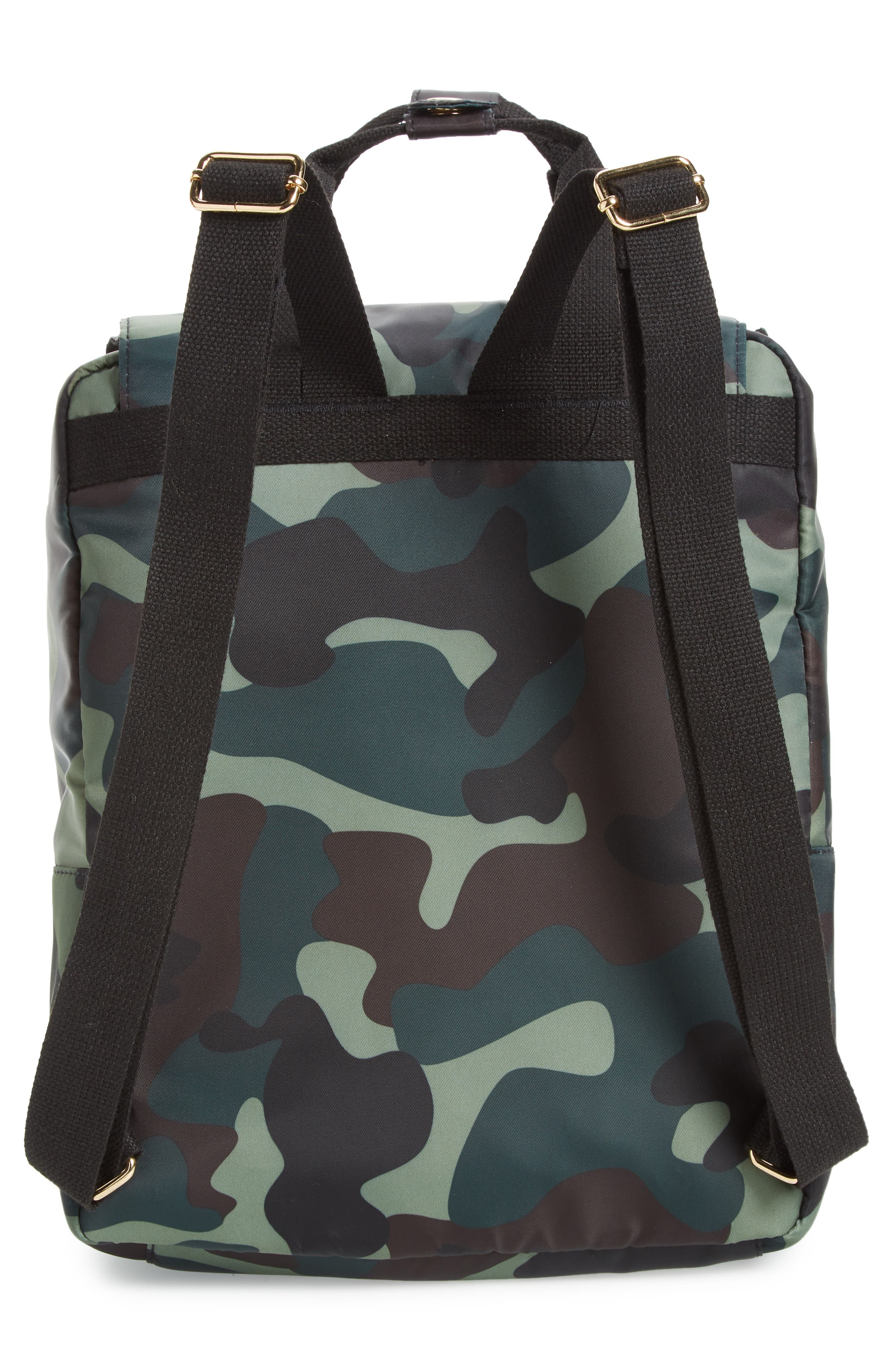 Camouflage Nylon Backpack,                             Alternate thumbnail 3, color,                             Camo Green