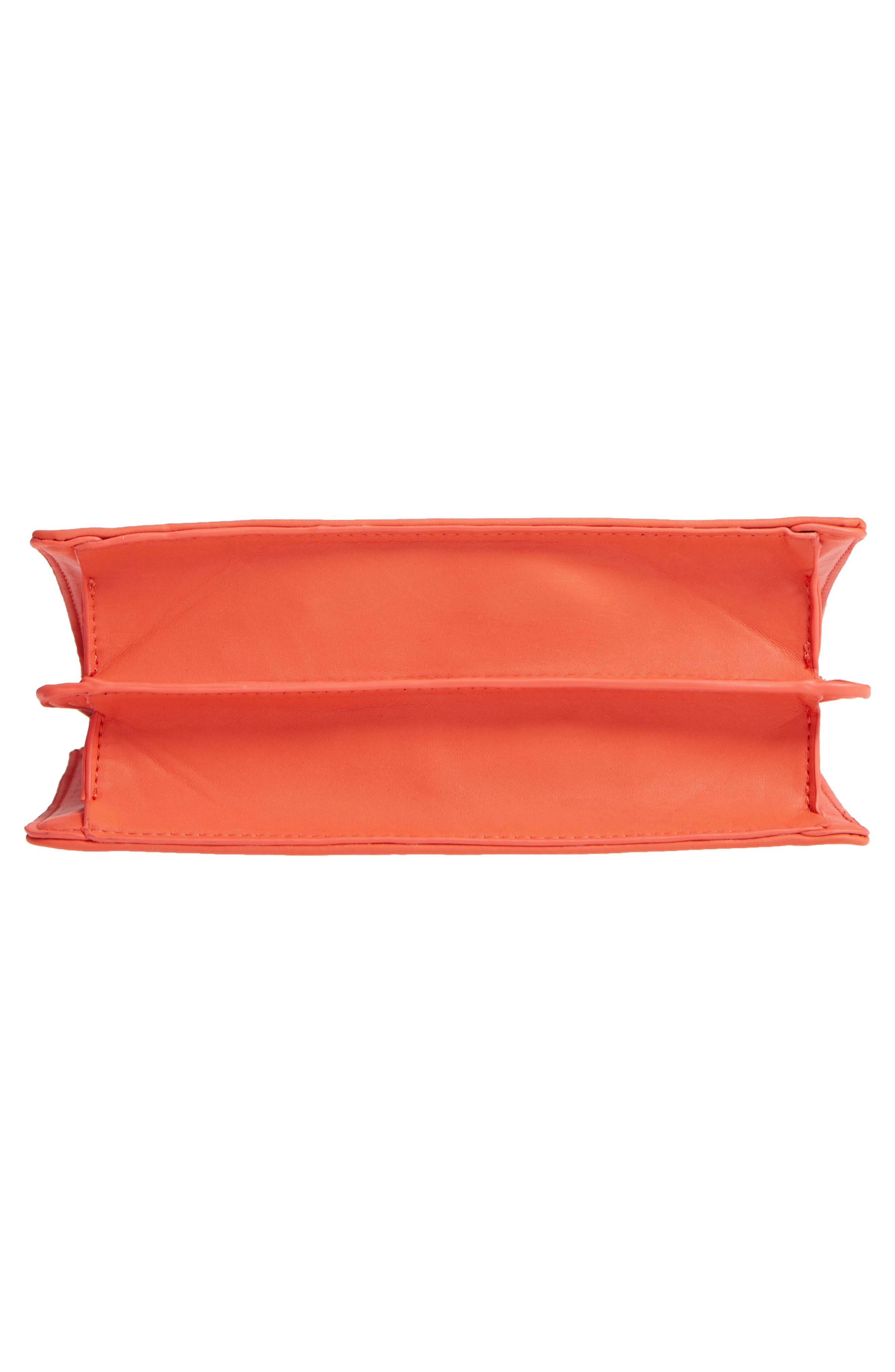 Faux Leather Frame Handbag,                             Alternate thumbnail 6, color,                             Red