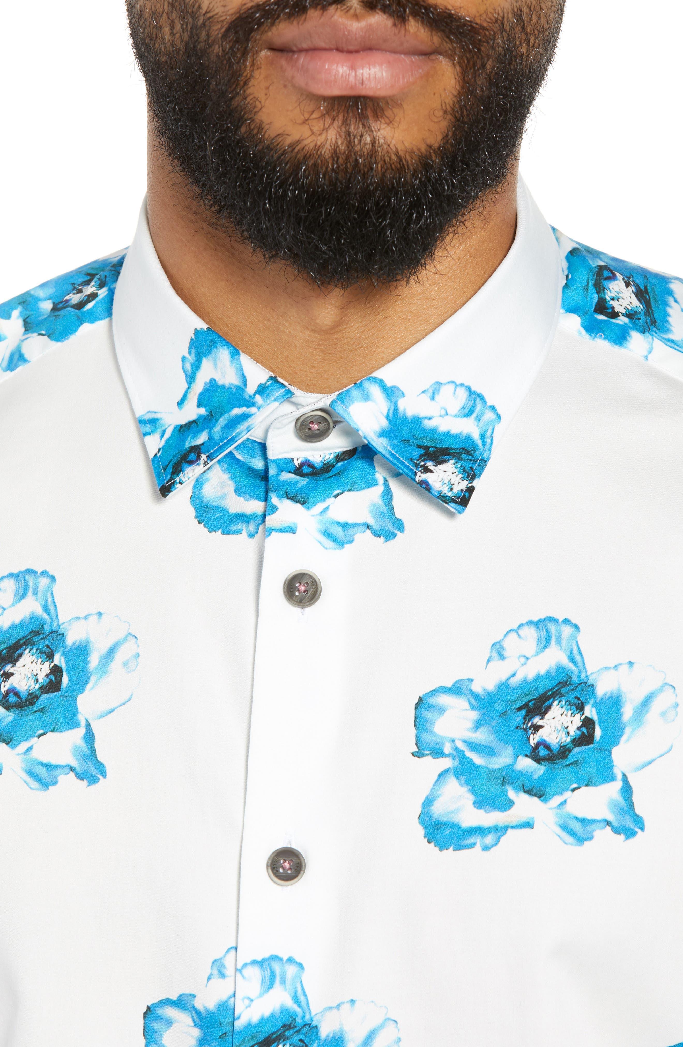 Silky Trim Fit Short Sleeve Sport Shirt,                             Alternate thumbnail 2, color,                             White