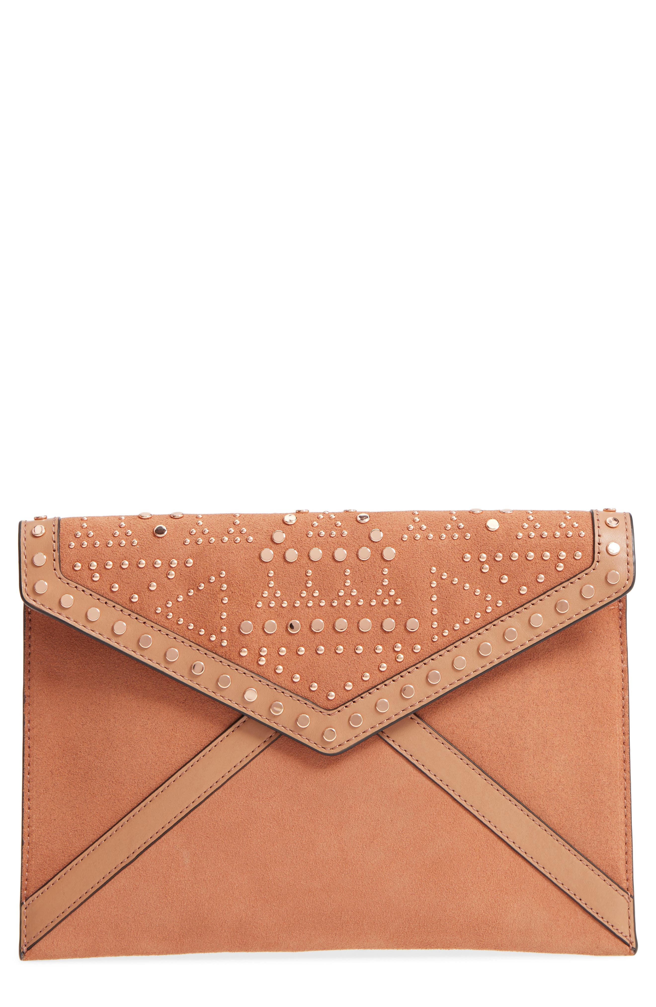 Leo Studded Leather & Suede Clutch,                             Main thumbnail 1, color,                             Desert Tan