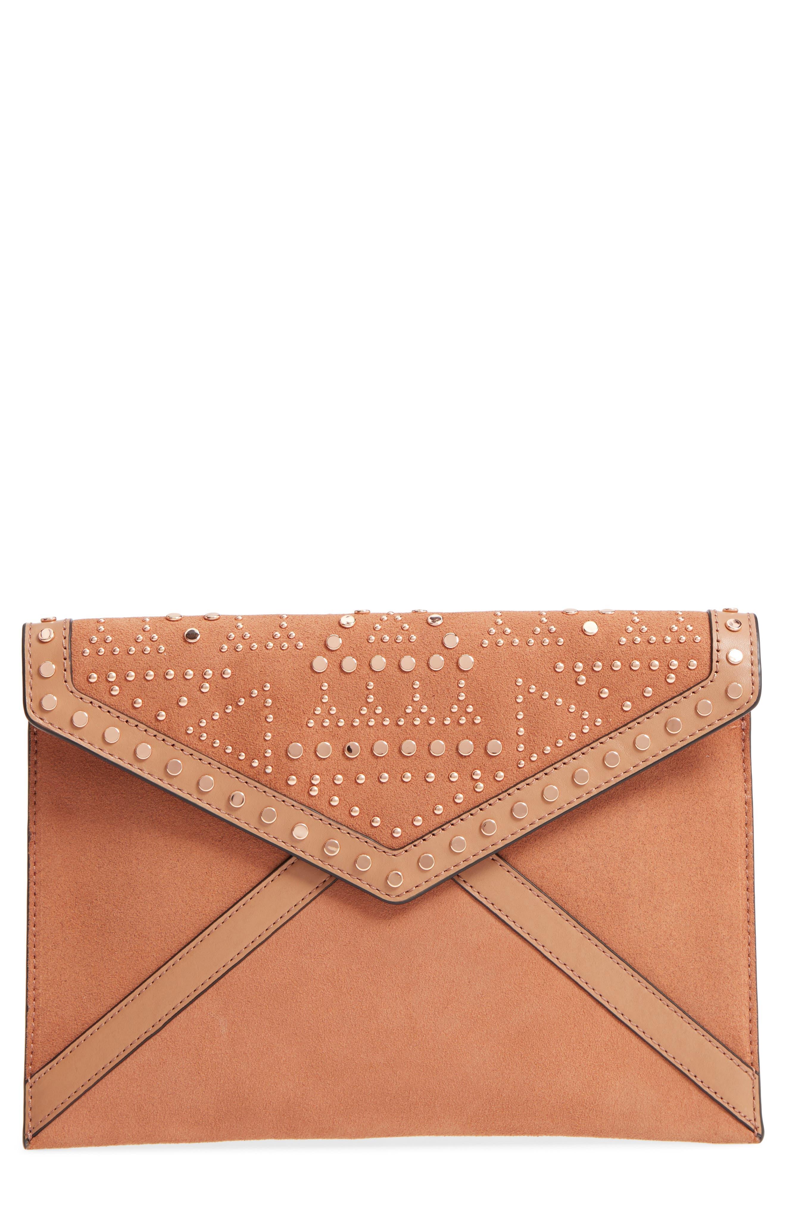 Leo Studded Leather & Suede Clutch,                         Main,                         color, Desert Tan