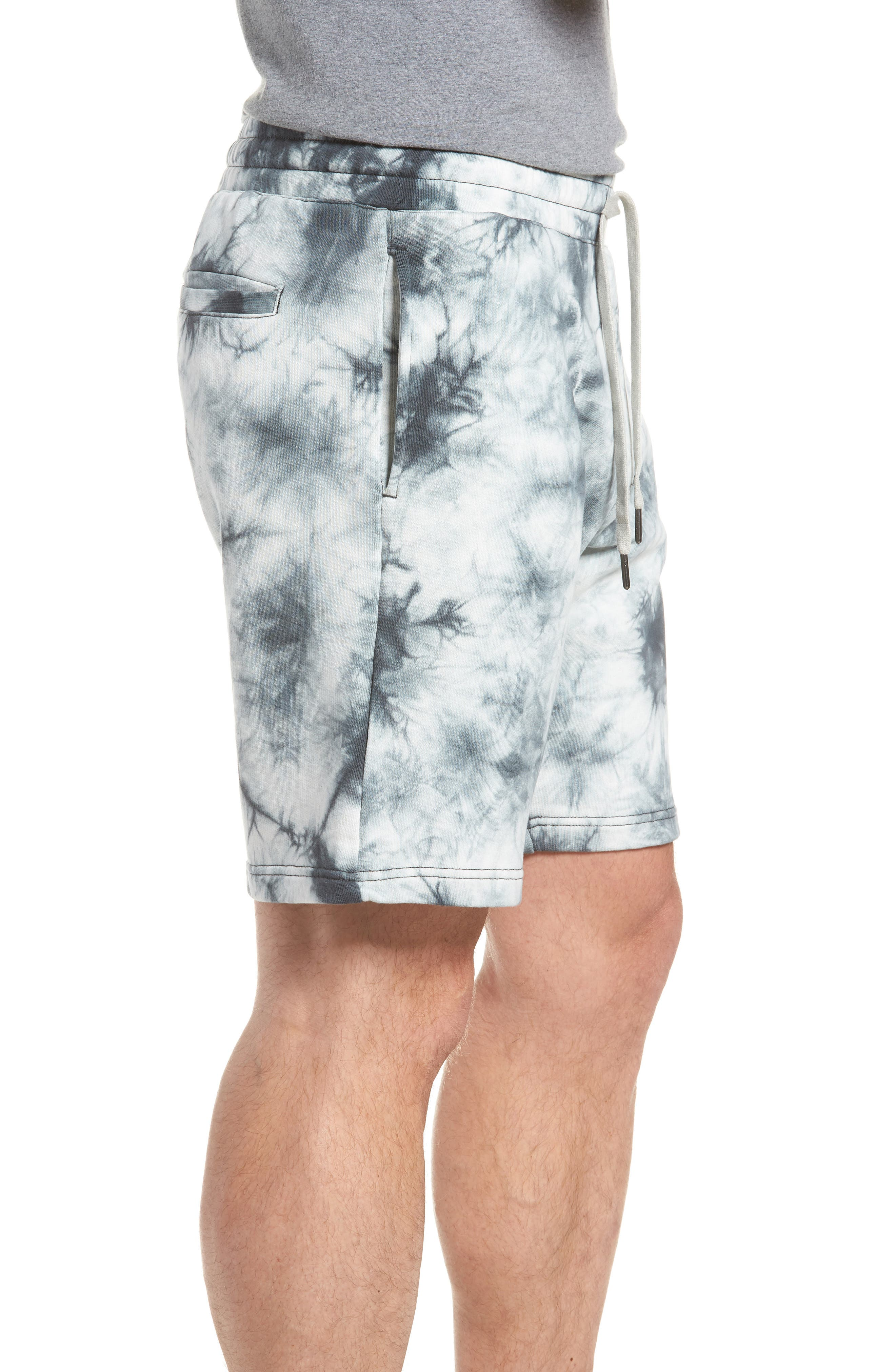 Twisted 9-Inch Cotton Shorts,                             Alternate thumbnail 3, color,                             Blue Tie Dye