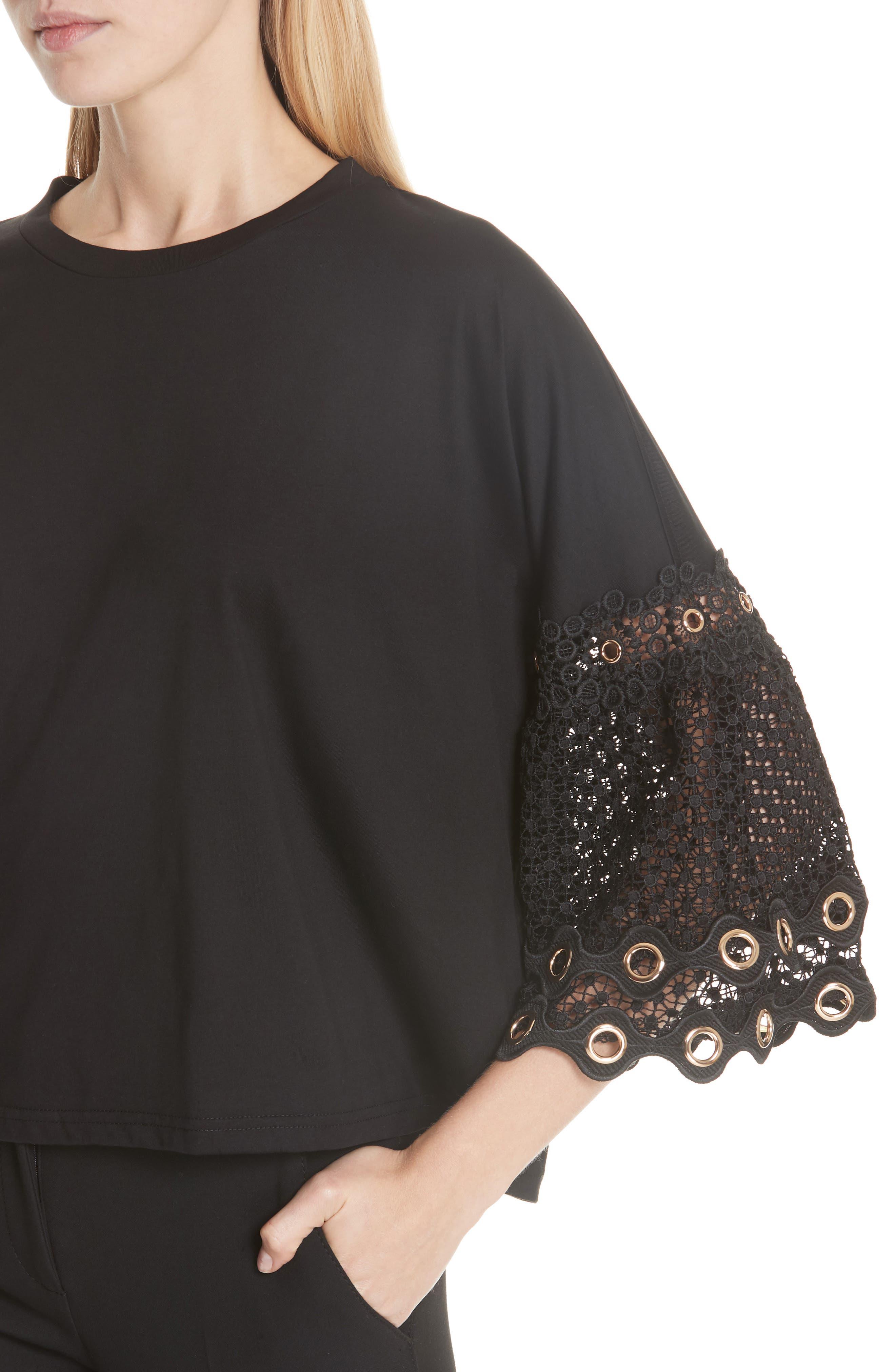Lace Sleeve Top,                             Alternate thumbnail 4, color,                             Black