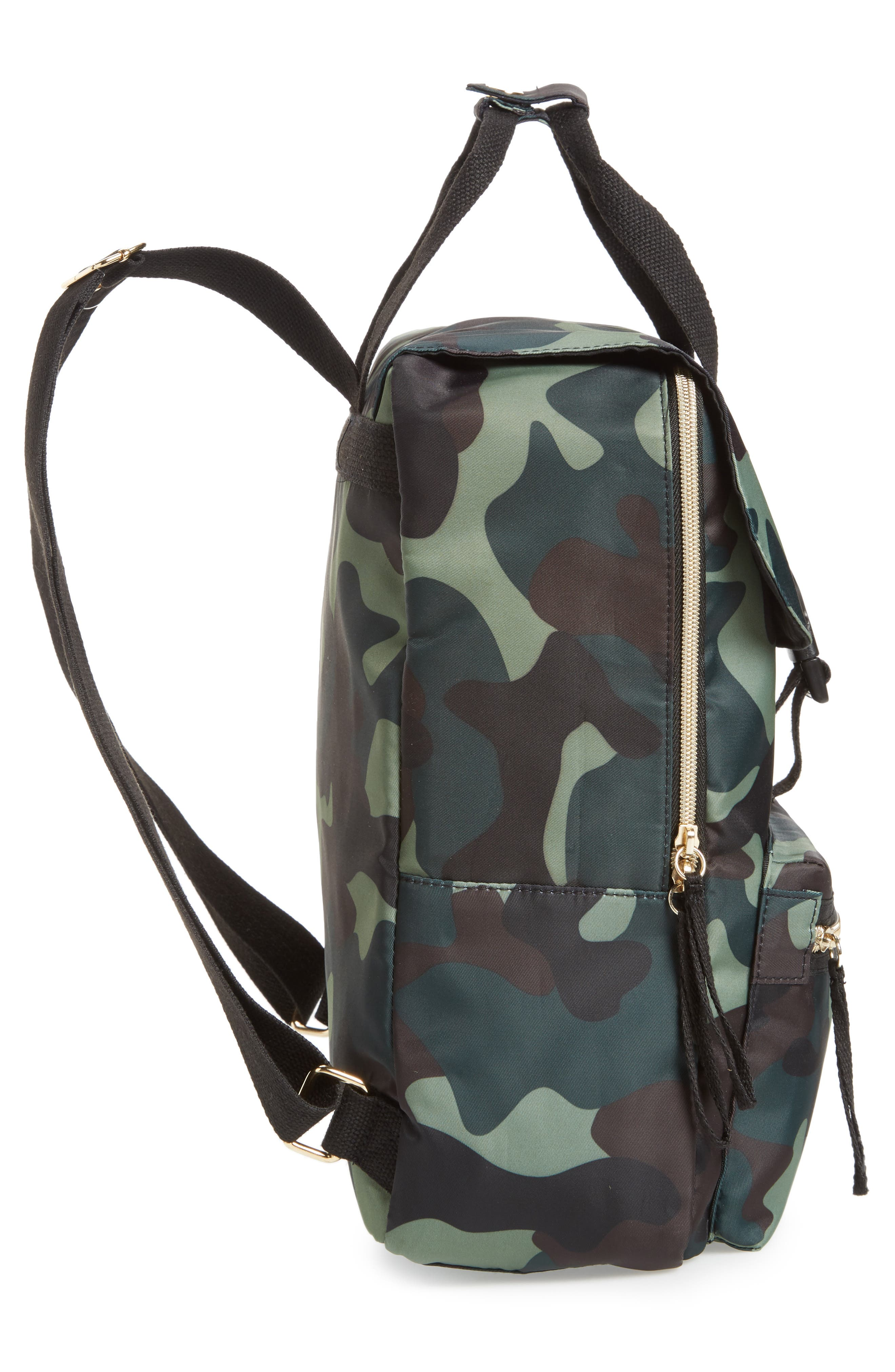 Camouflage Nylon Backpack,                             Alternate thumbnail 5, color,                             Camo Green