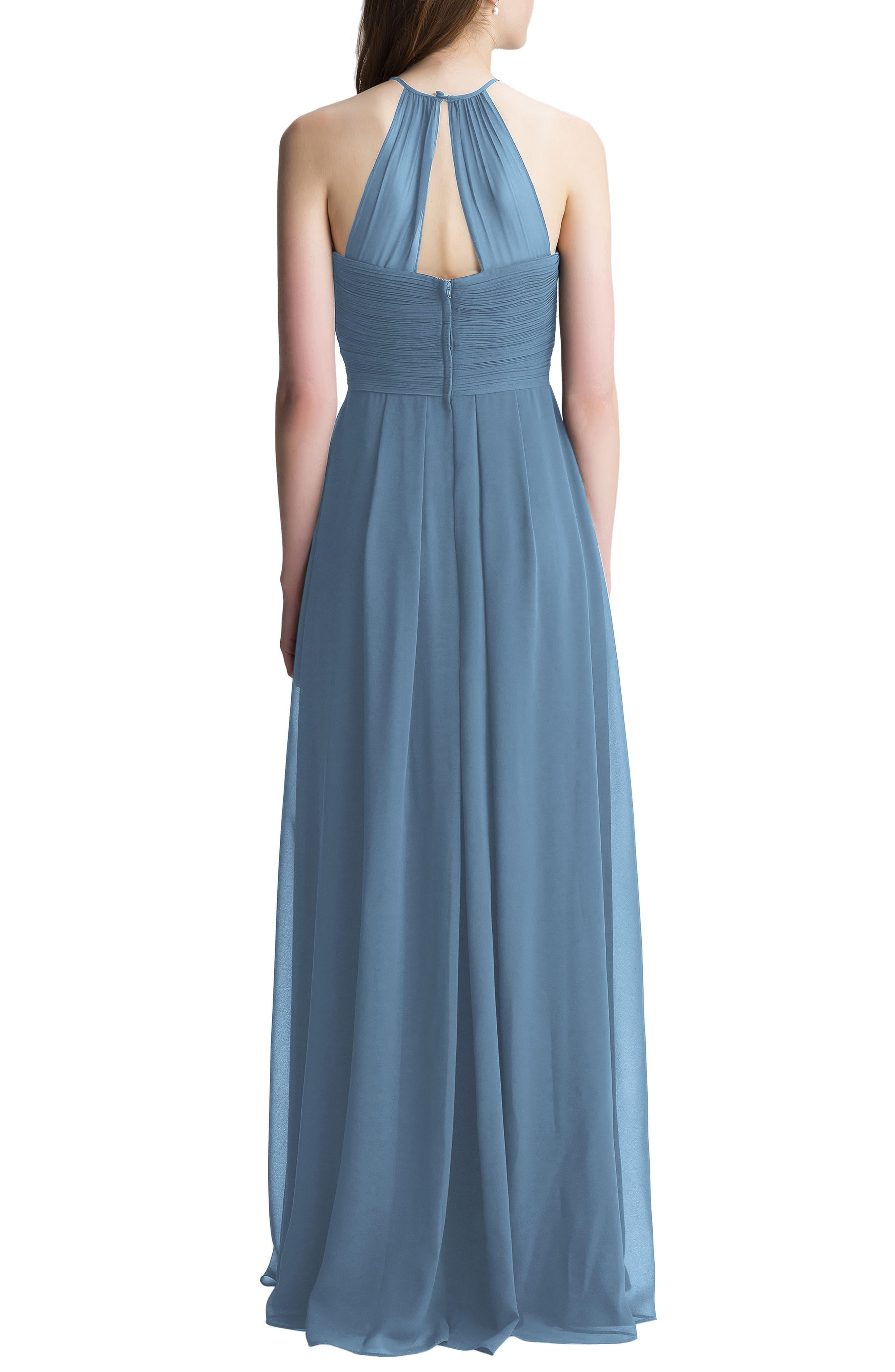 Halter Chiffon A-Line Gown,                             Alternate thumbnail 2, color,                             Slate