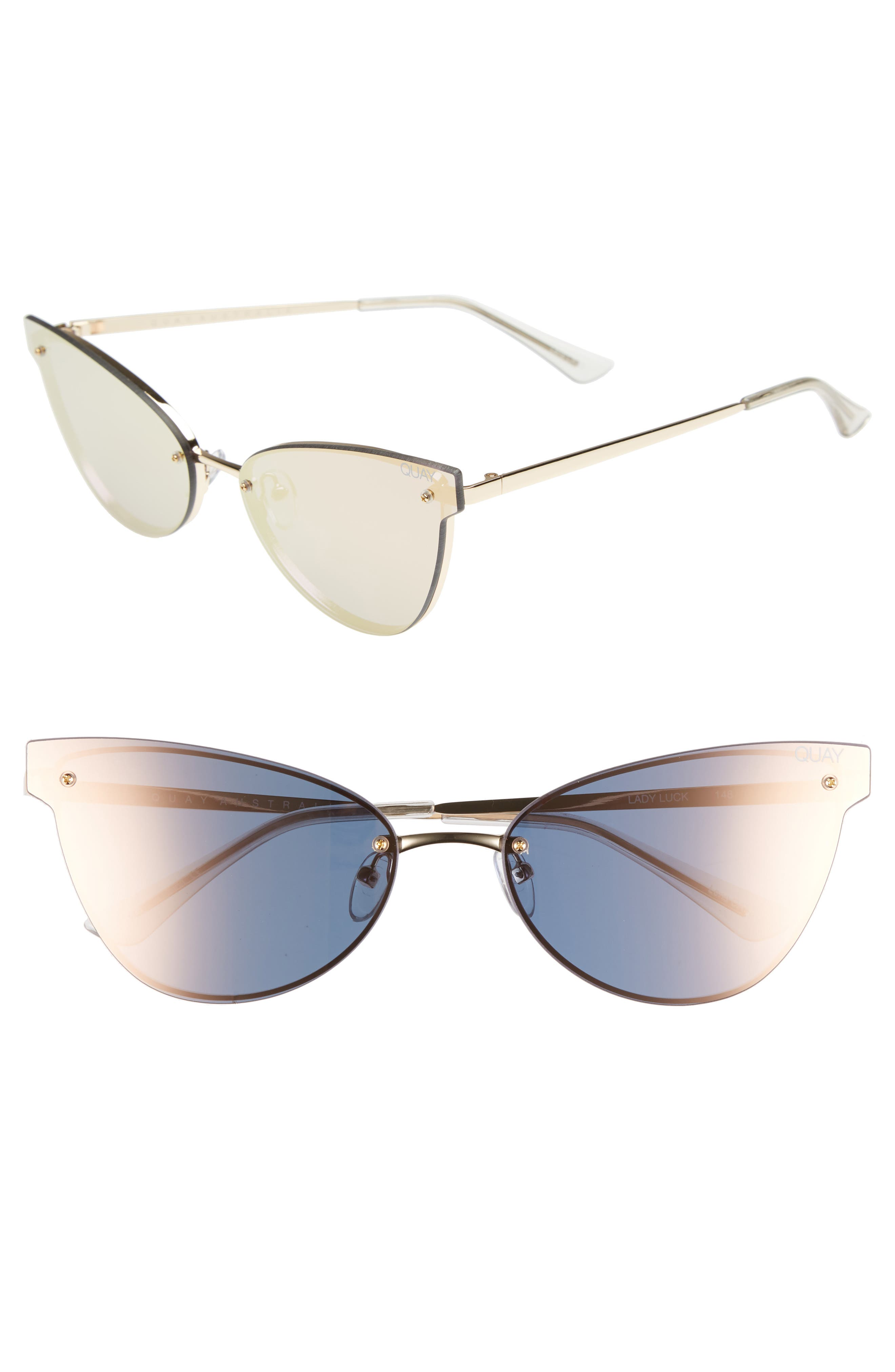 Lady Luck 60mm Cat Eye Sunglasses,                         Main,                         color, Gold/ Gold